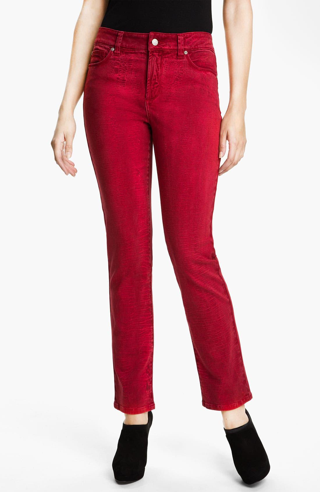 Alternate Image 1 Selected - NYDJ 'Sheri - Shattered' Print Skinny Twill Jeans (Petite)