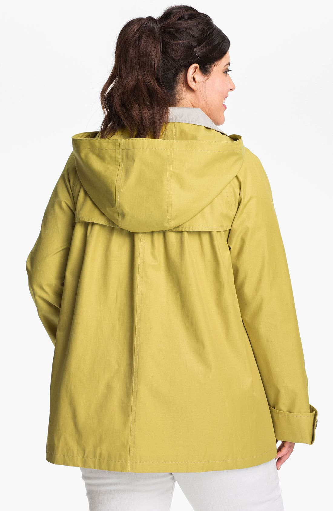Alternate Image 2  - Gallery Short A-Line Jacket with Detachable Hood (Plus)