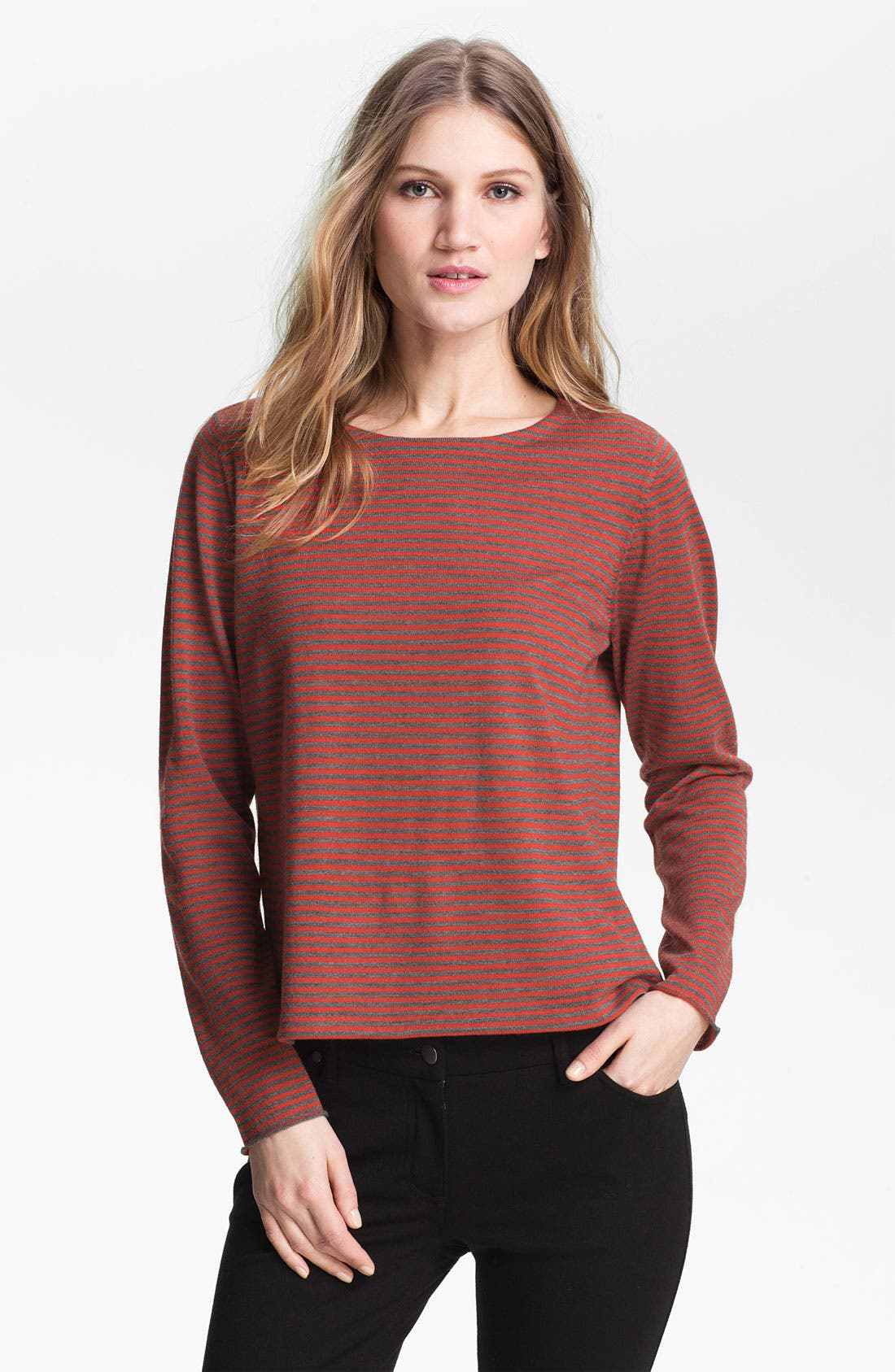 Alternate Image 1 Selected - Eileen Fisher Stripe Fine Merino Top