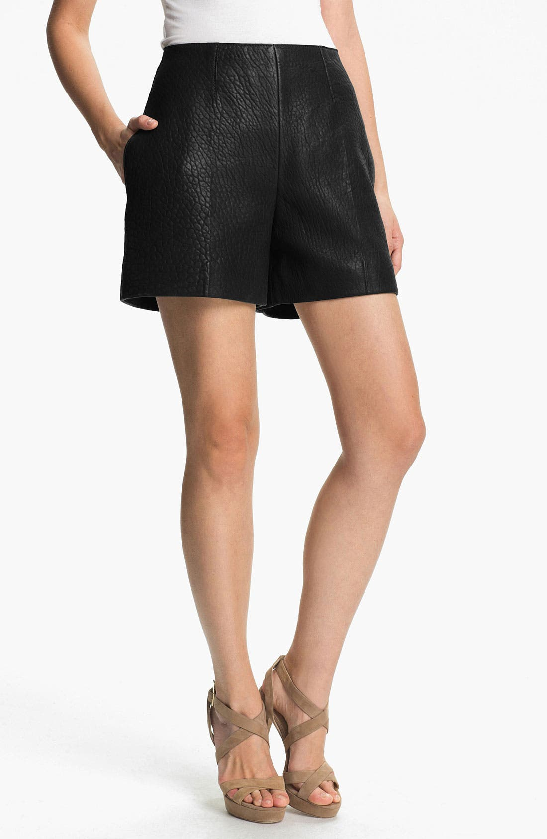 Main Image - Carven High Waist Leather Shorts