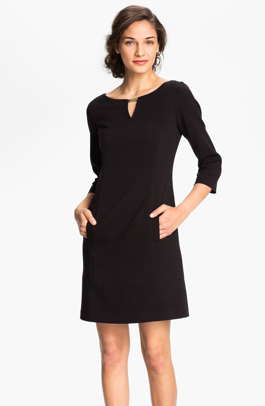 Main Image - Eliza J Keyhole Knit Shift Dress (Petite)