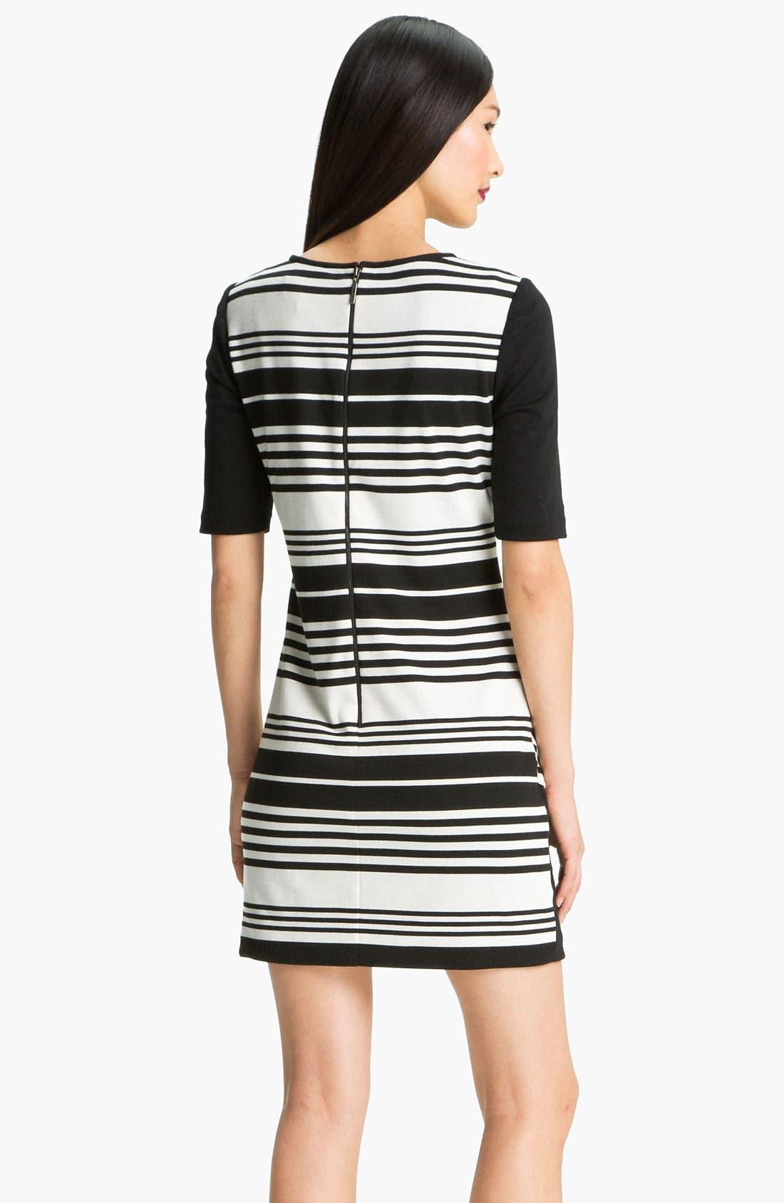 Alternate Image 2  - Donna Ricco Colorblock Stripe Ponte Shift Dress (Petite)