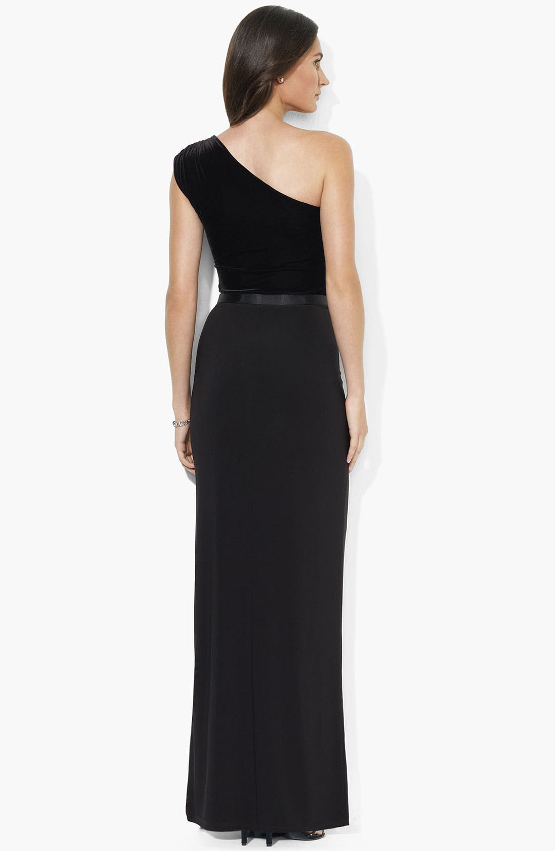 Alternate Image 2  - Lauren Ralph Lauren One Shoulder Velvet Gown (Petite)