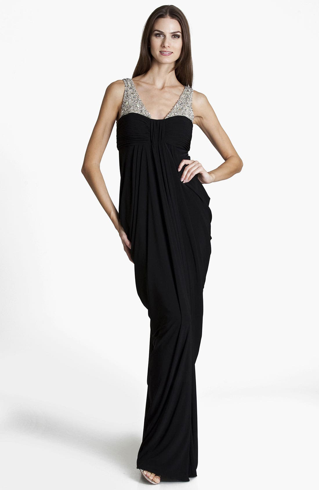 Main Image - JS Boutique Embellished Draped Jersey Gown