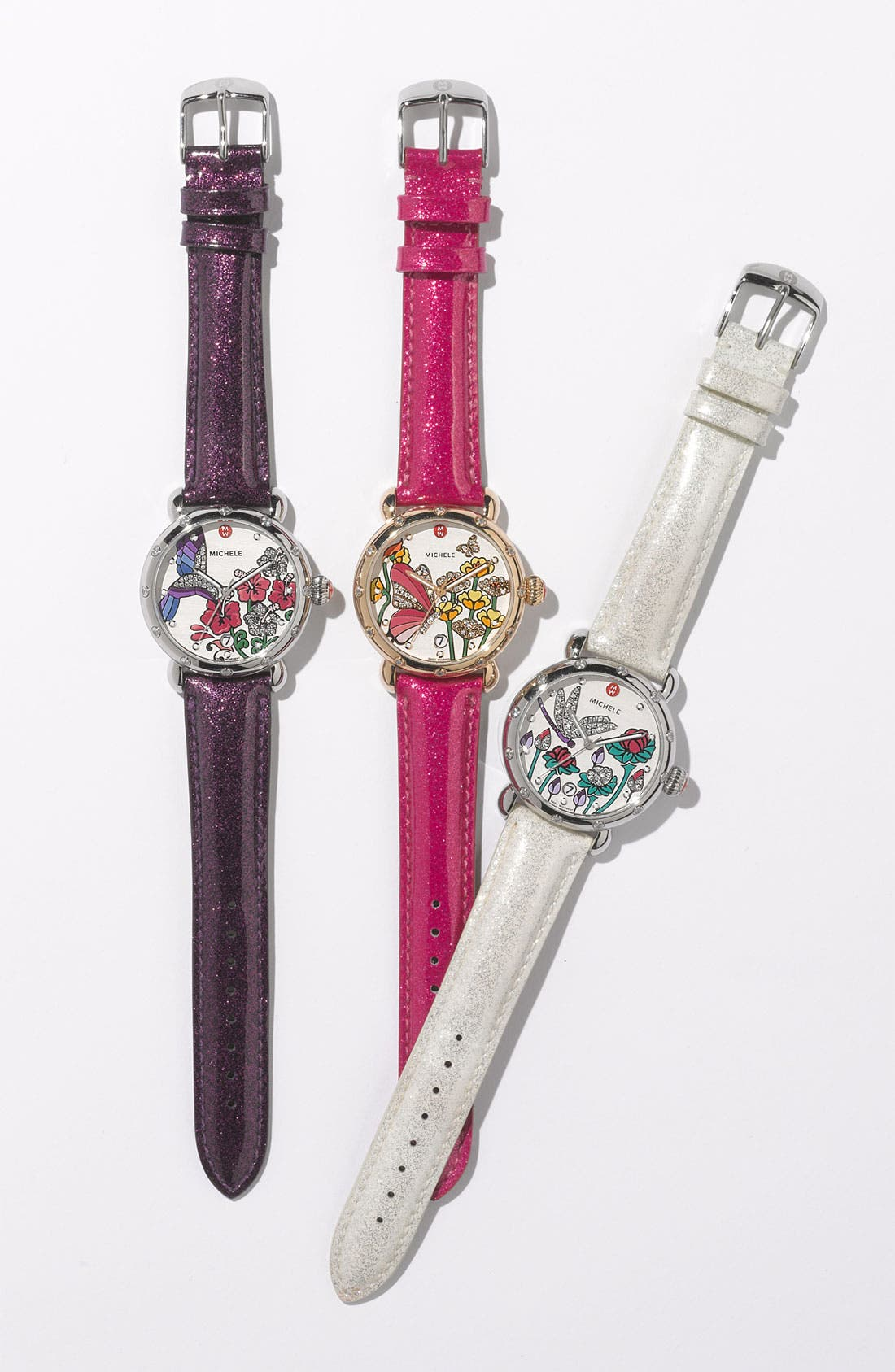 Alternate Image 3  - MICHELE 18mm Glitter Patent Leather Watch Strap