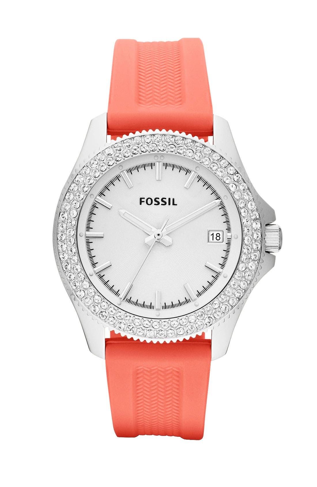 Alternate Image 1 Selected - Fossil 'Retro Traveler' Crystal Bezel Watch, 36mm