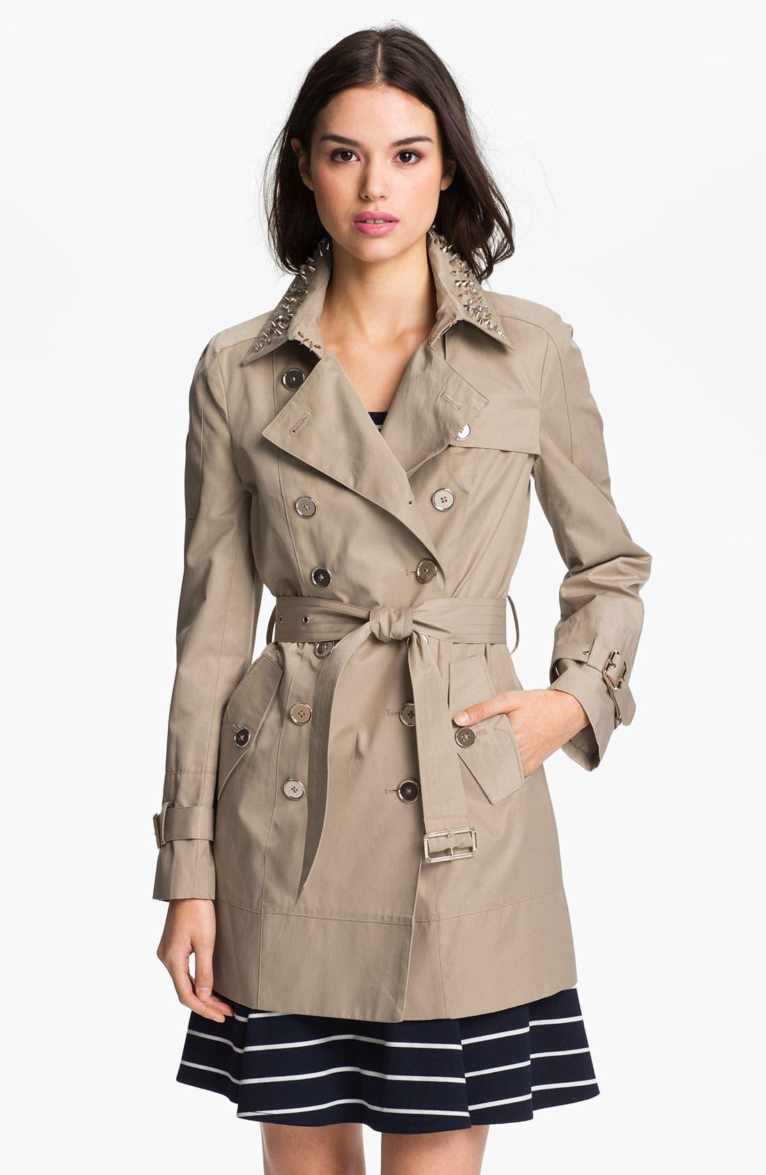 Alternate Image 1 Selected - Sam Edelman Embellished Collar Trench Coat
