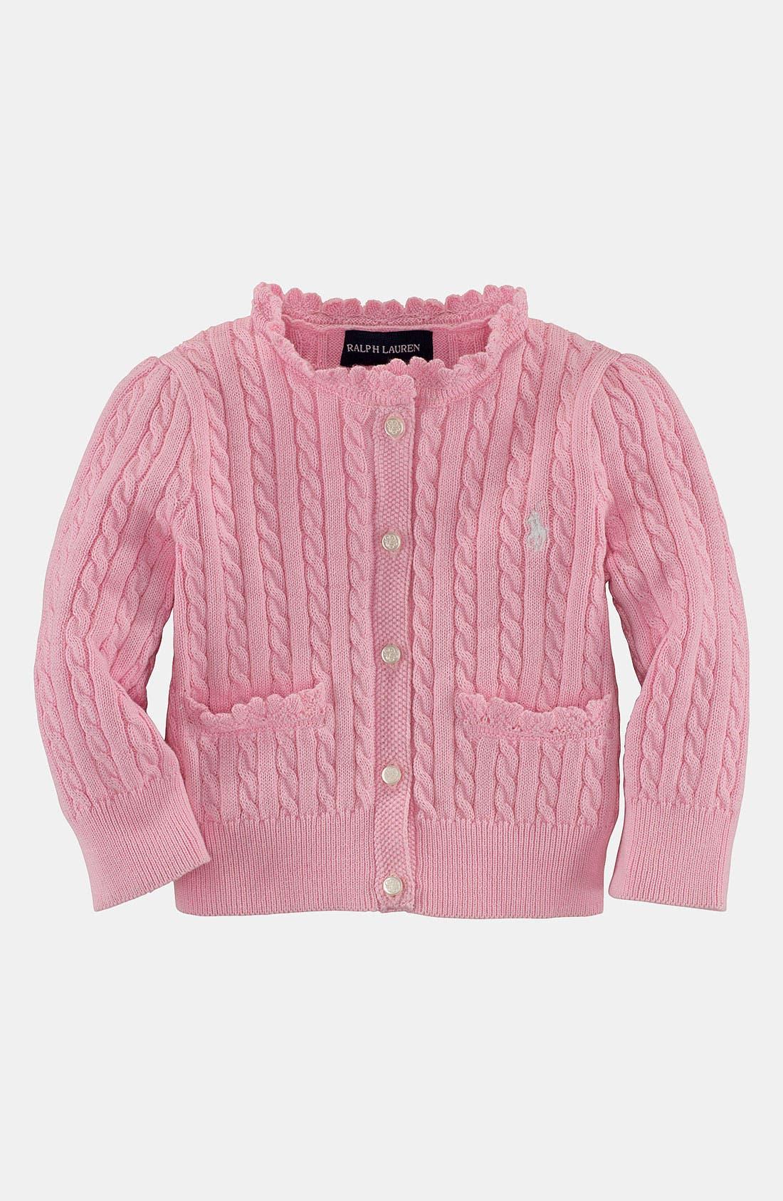 Main Image - Ralph Lauren Cable Knit Cardigan (Infant)