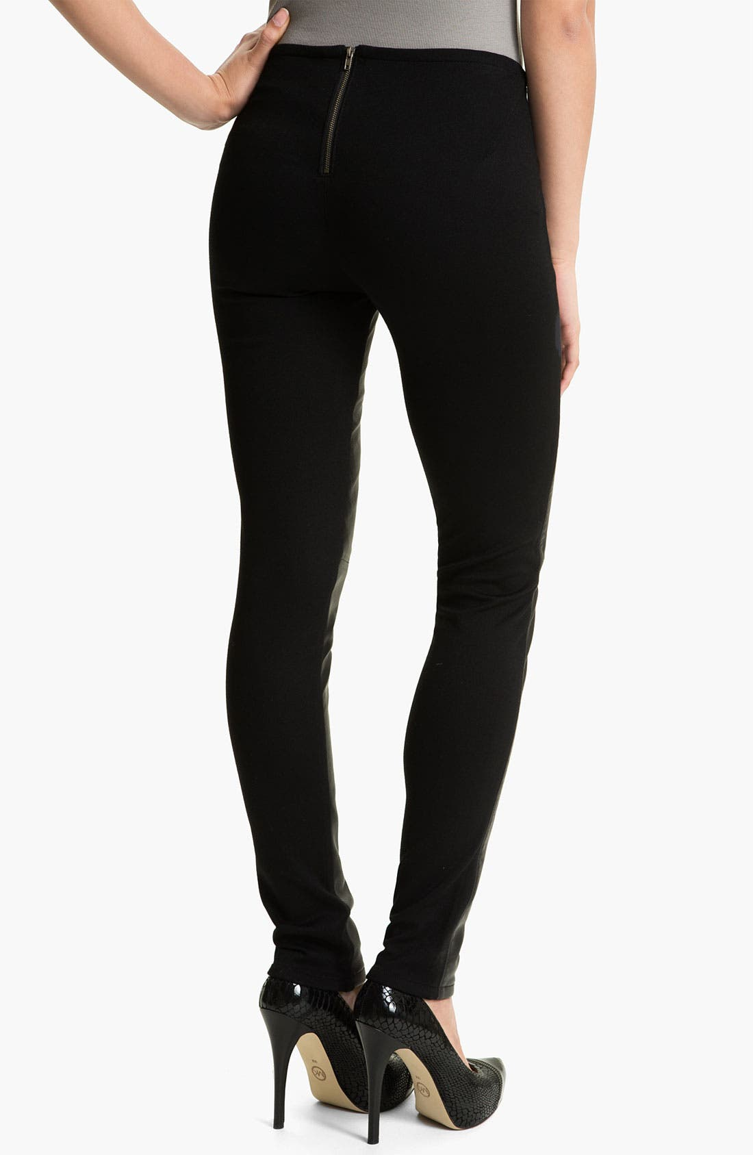 Alternate Image 2  - Two by Vince Camuto Faux Leather & Knit Leggings (Petite)