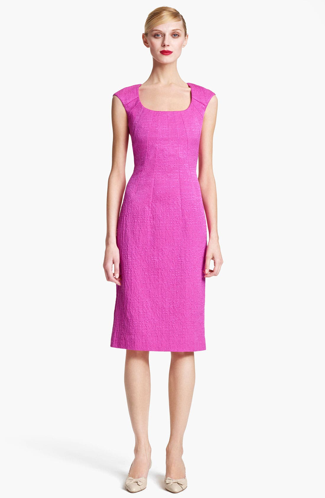 Main Image - Oscar de la Renta Belted Crimped Cotton & Silk Dress