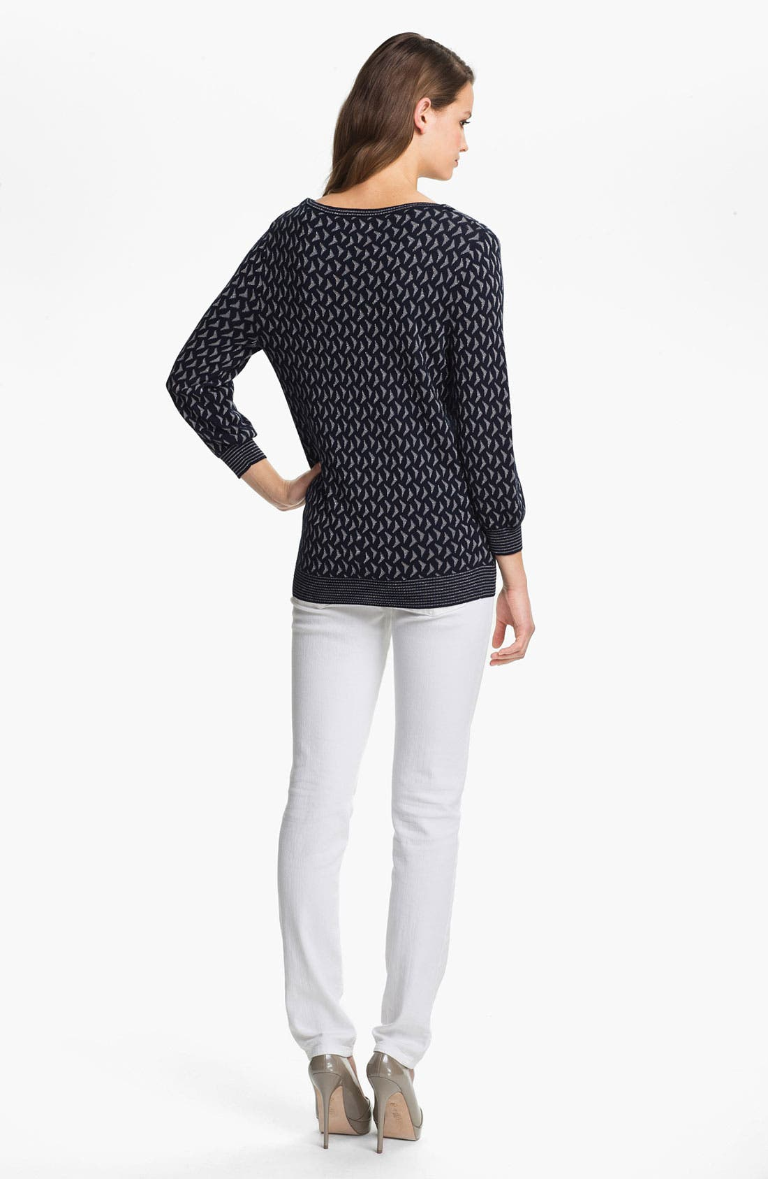 Alternate Image 5  - Anne Klein Scoop Neck Metallic Pattern Sweater (Petite)