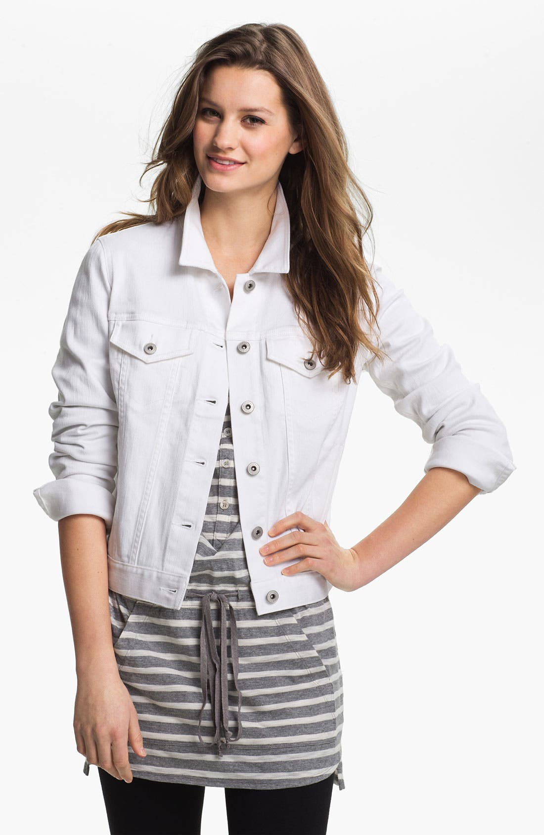 Two by Vince Camuto Denim Jacket,                         Main,                         color, Ultra White