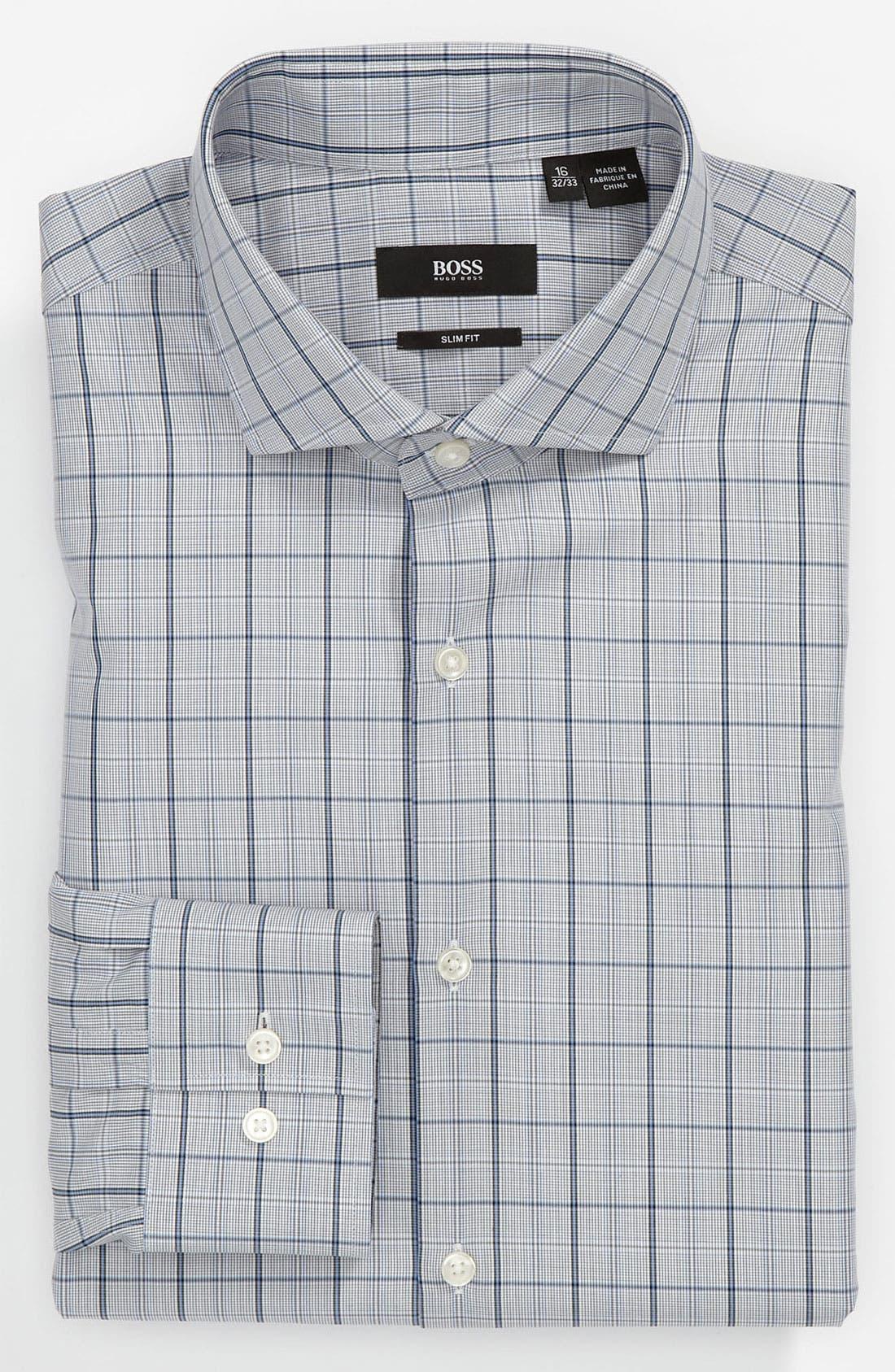 Black Slim Fit Dress Shirt,                         Main,                         color, Blue