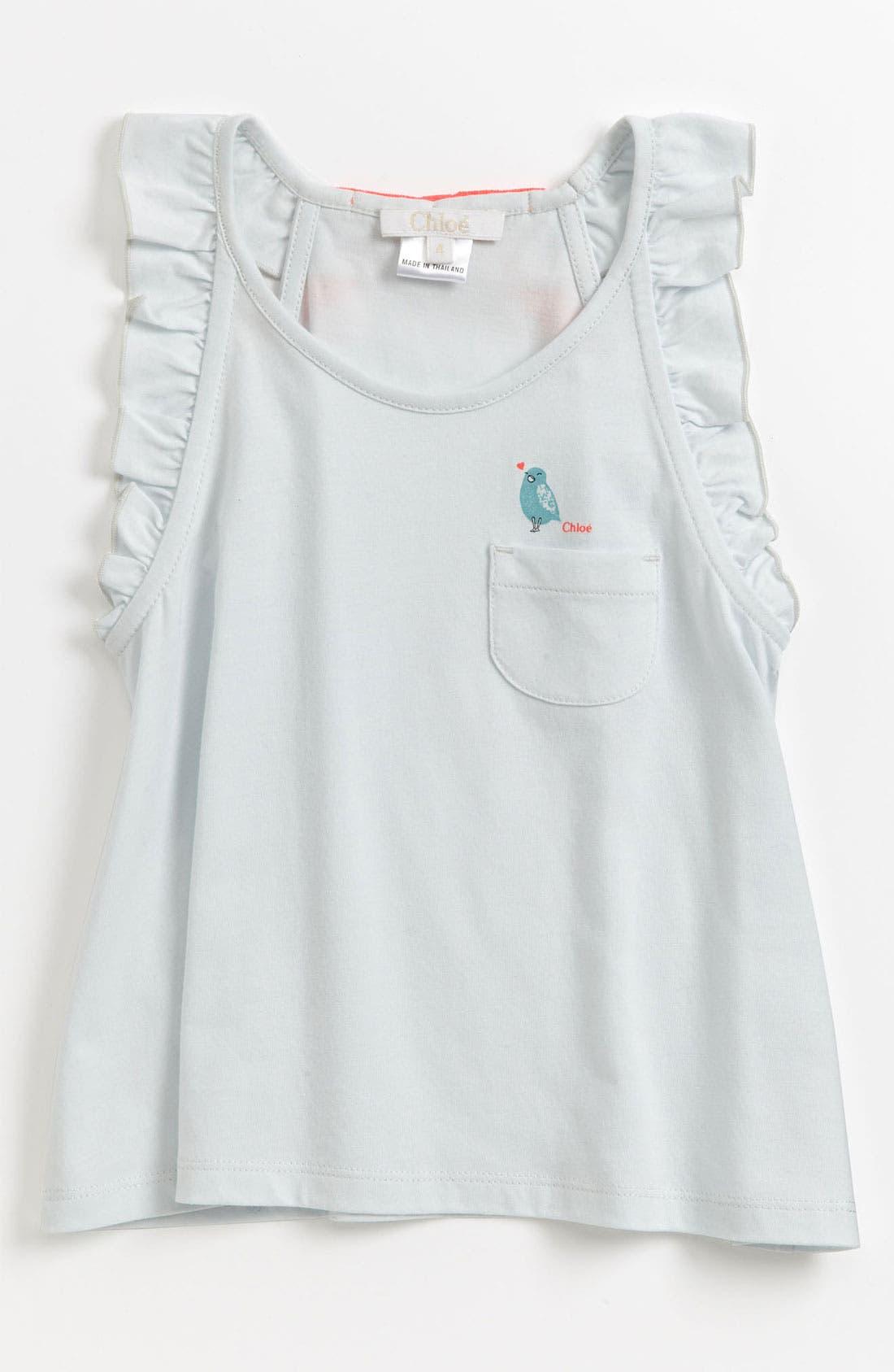 Main Image - Chloé Ruffle Sleeve Tank Top (Toddler, Little Girls & Big Girls)