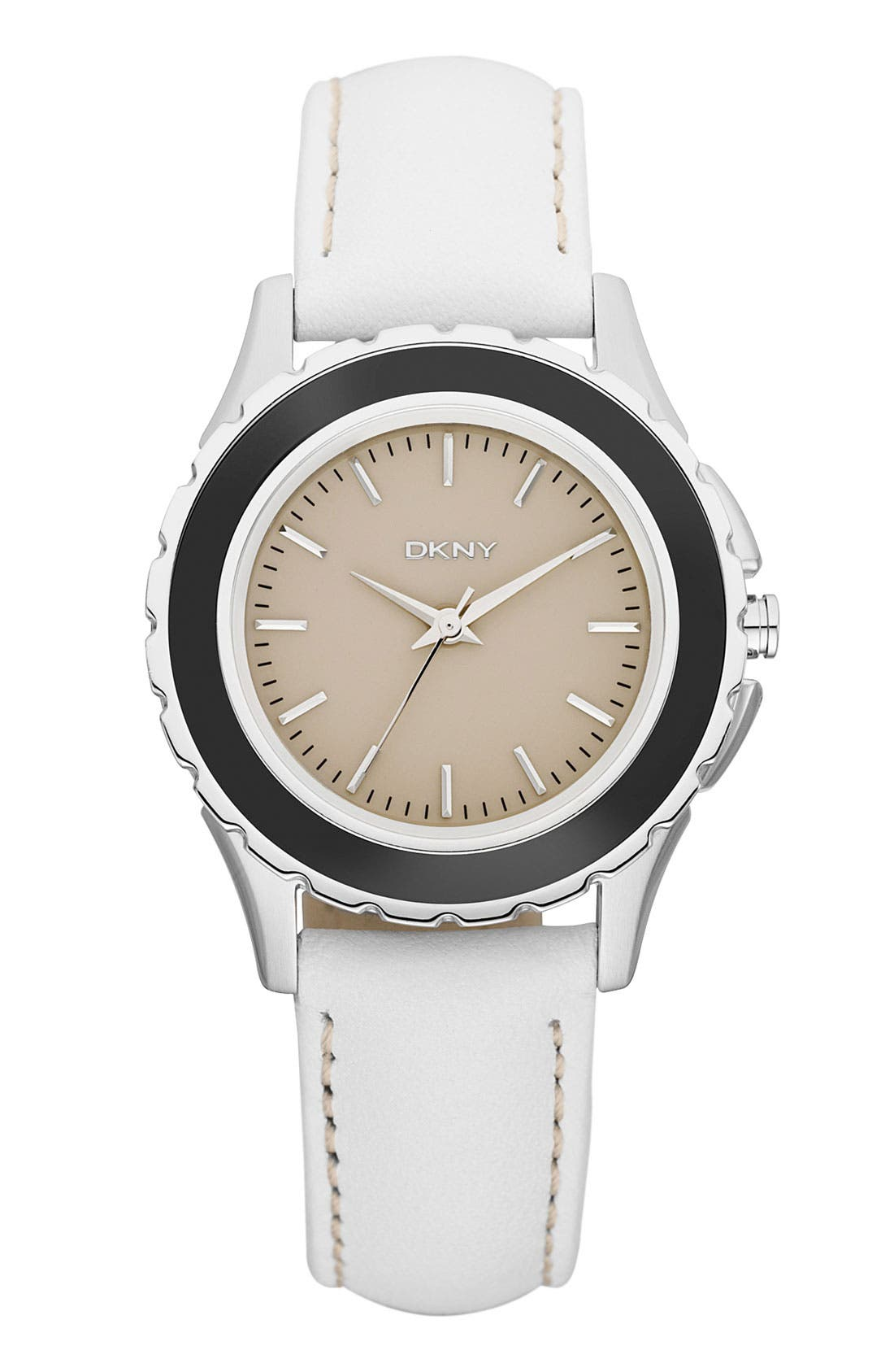 Alternate Image 1 Selected - DKNY Leather Strap Watch, 32mm