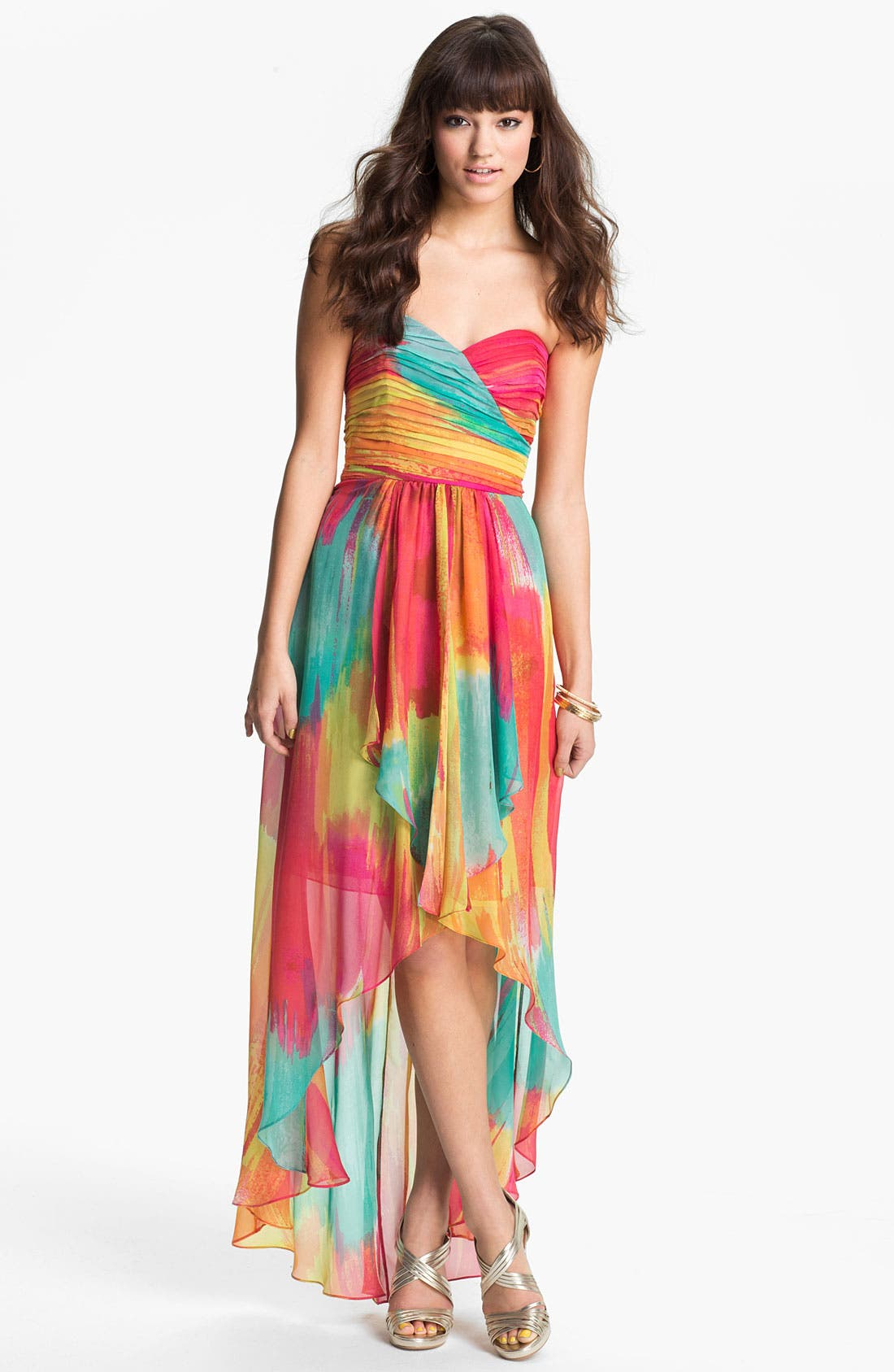 Alternate Image 1 Selected - Laundry by Shelli Segal High/Low Print Chiffon Gown
