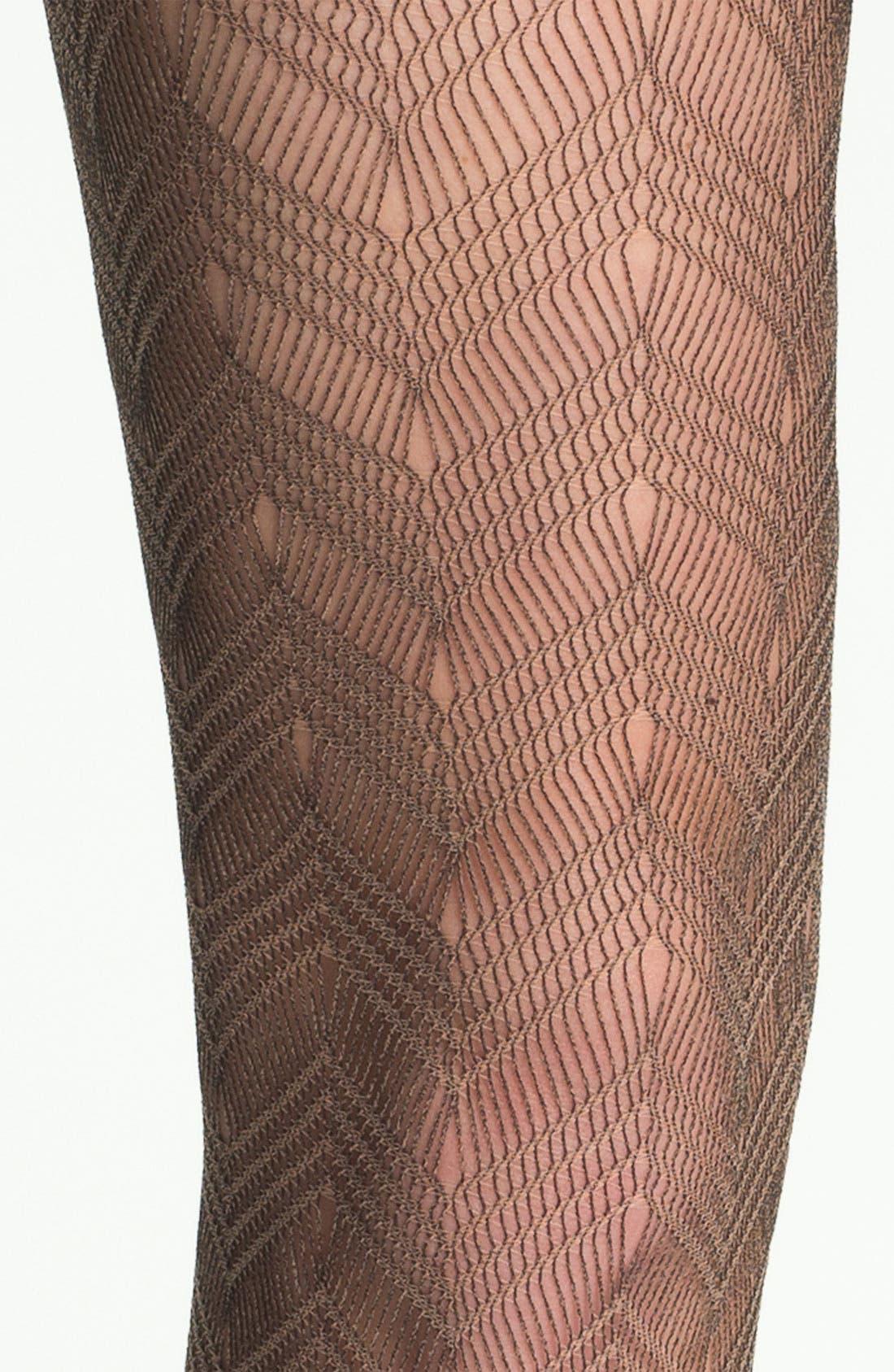 Alternate Image 2  - Nordstrom Chevron Crochet Tights