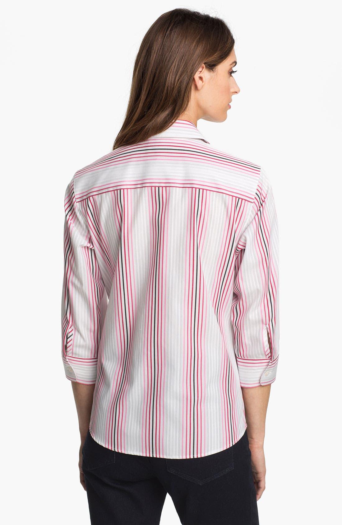 Alternate Image 2  - Foxcroft Double Face Stripe Shirt