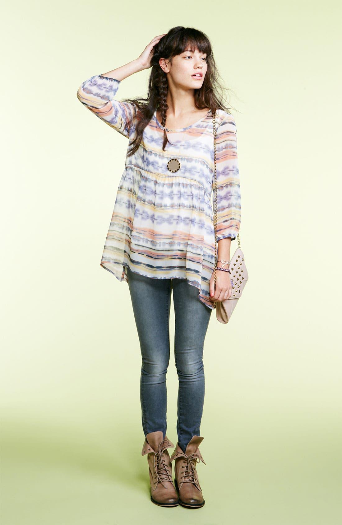 Alternate Image 2  - Lily White Crochet Back Babydoll Tunic (Juniors)