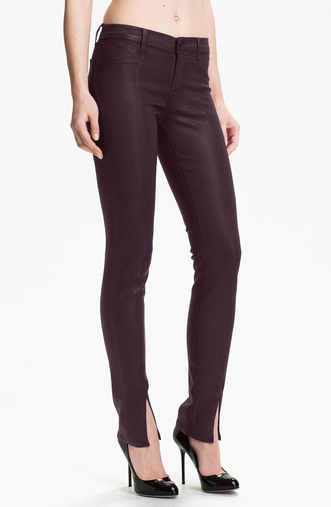 Main Image - J Brand 'Vera' Slit Hem Skinny Jeans (Coated Dark)