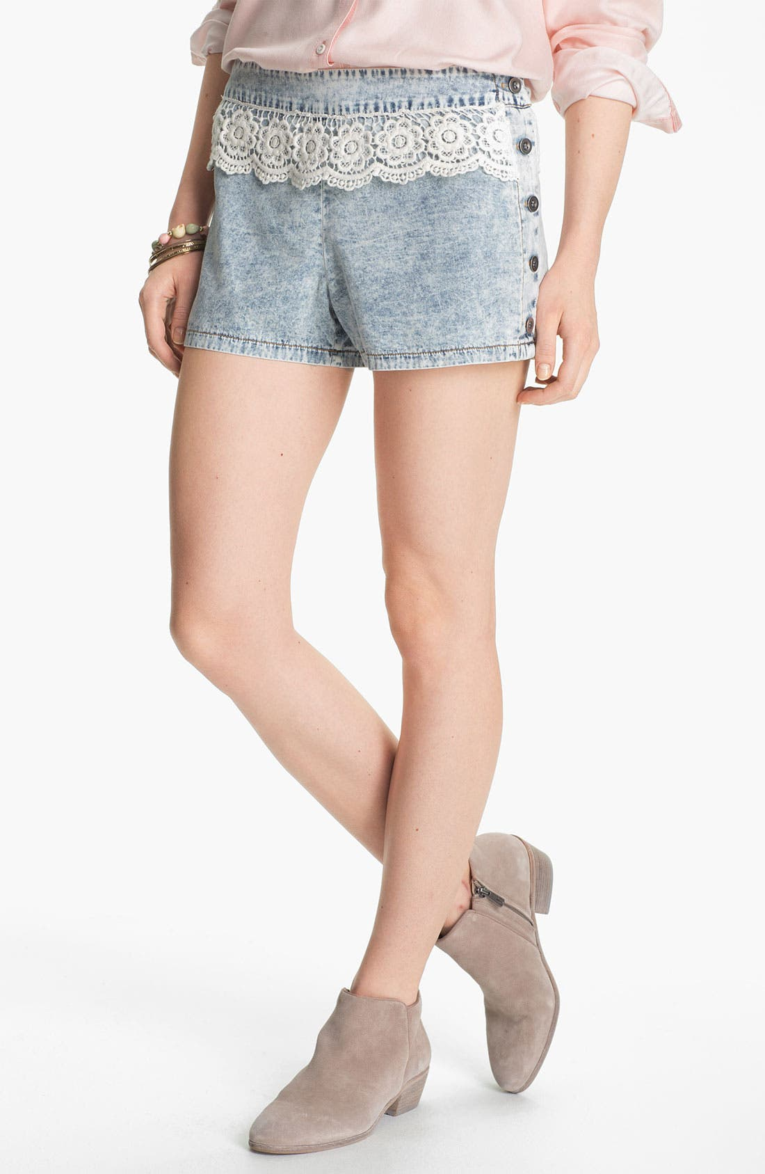 Alternate Image 1 Selected - Mimi Chica Crochet Trim Chambray Shorts (Juniors)