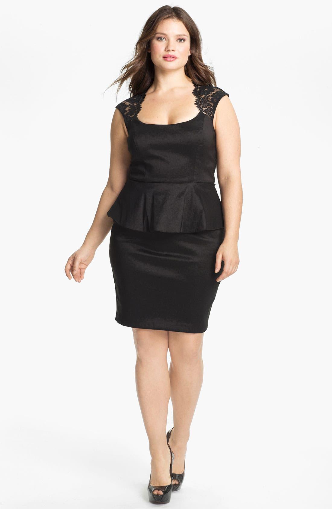 Alternate Image 1 Selected - Xscape Lace Detail Peplum Dress (Plus Size)