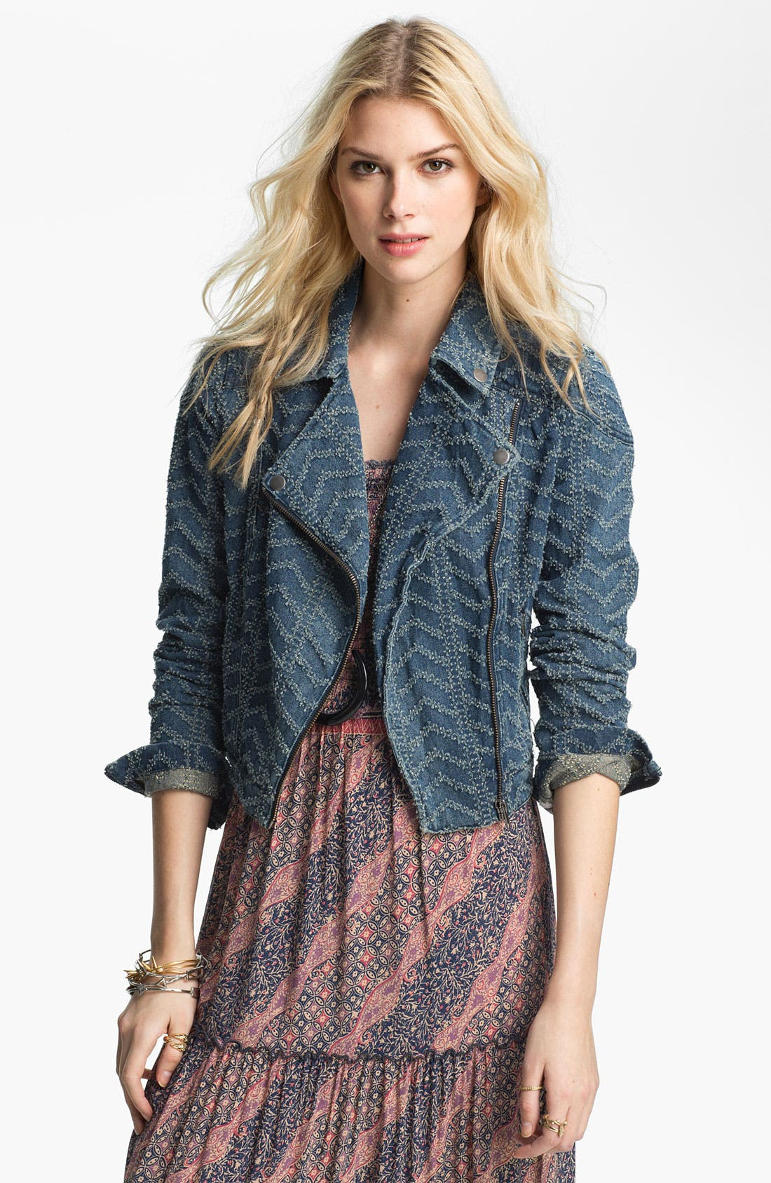 Main Image - Free People 'Punched' Denim Biker Jacket