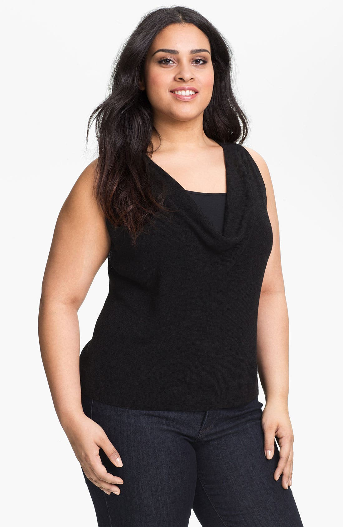 Alternate Image 1 Selected - Eileen Fisher Cowl Neck Knit Tank (Plus Size)