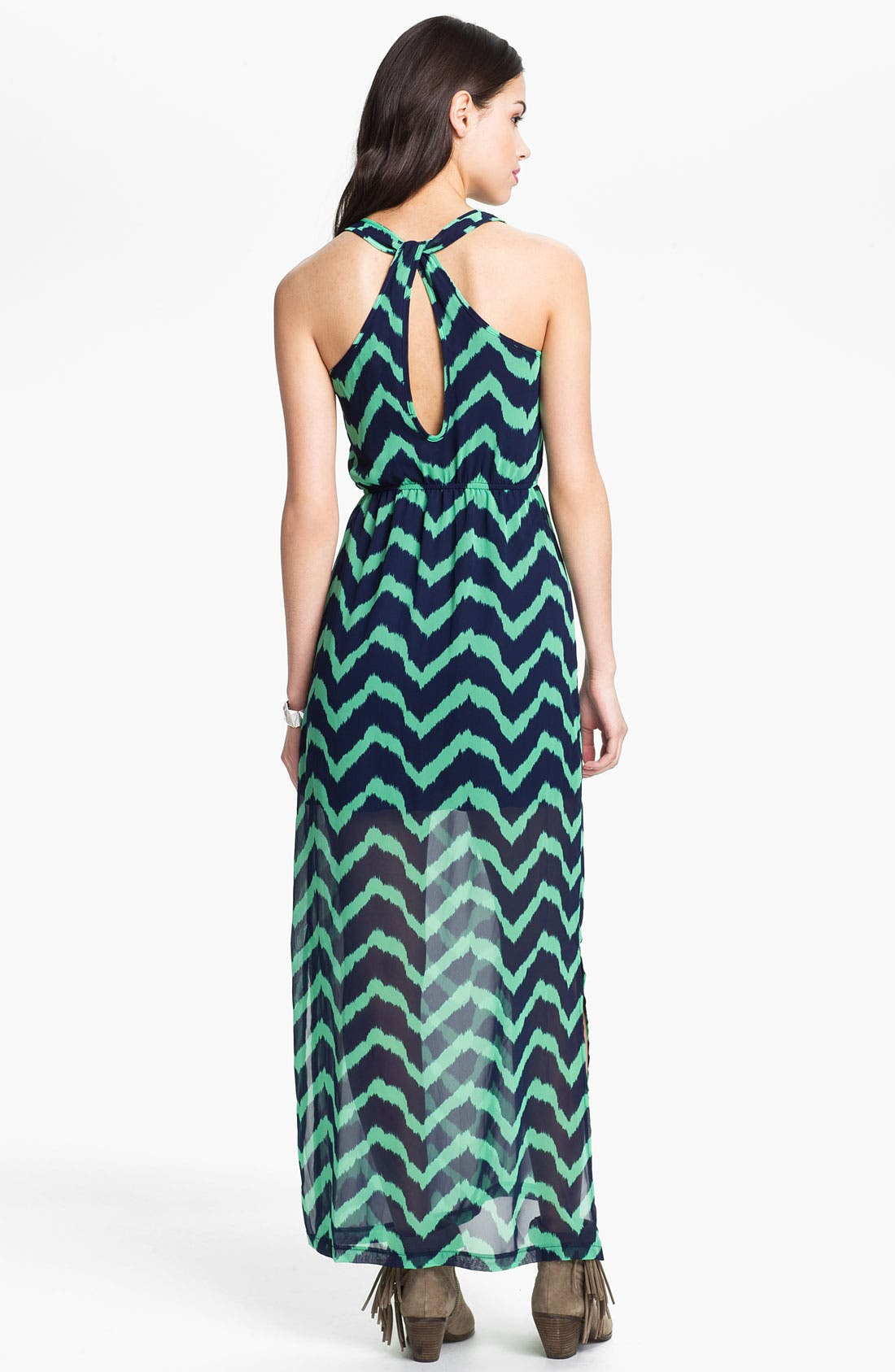 Alternate Image 2  - dee elle Keyhole Back Print Chiffon Maxi Dress (Juniors)
