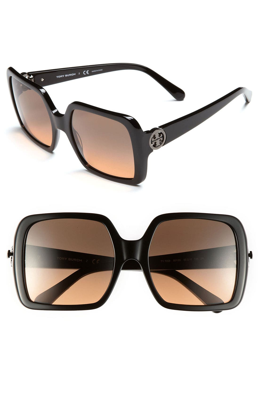 Alternate Image 1 Selected - Tory Burch Logo Hinge 55mm Sunglasses