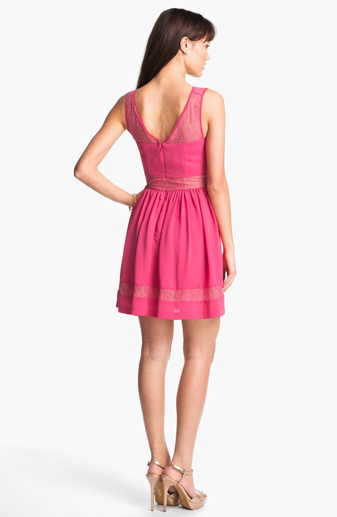 Alternate Image 2  - Max & Cleo Lace Inset Crepe Fit & Flare Dress