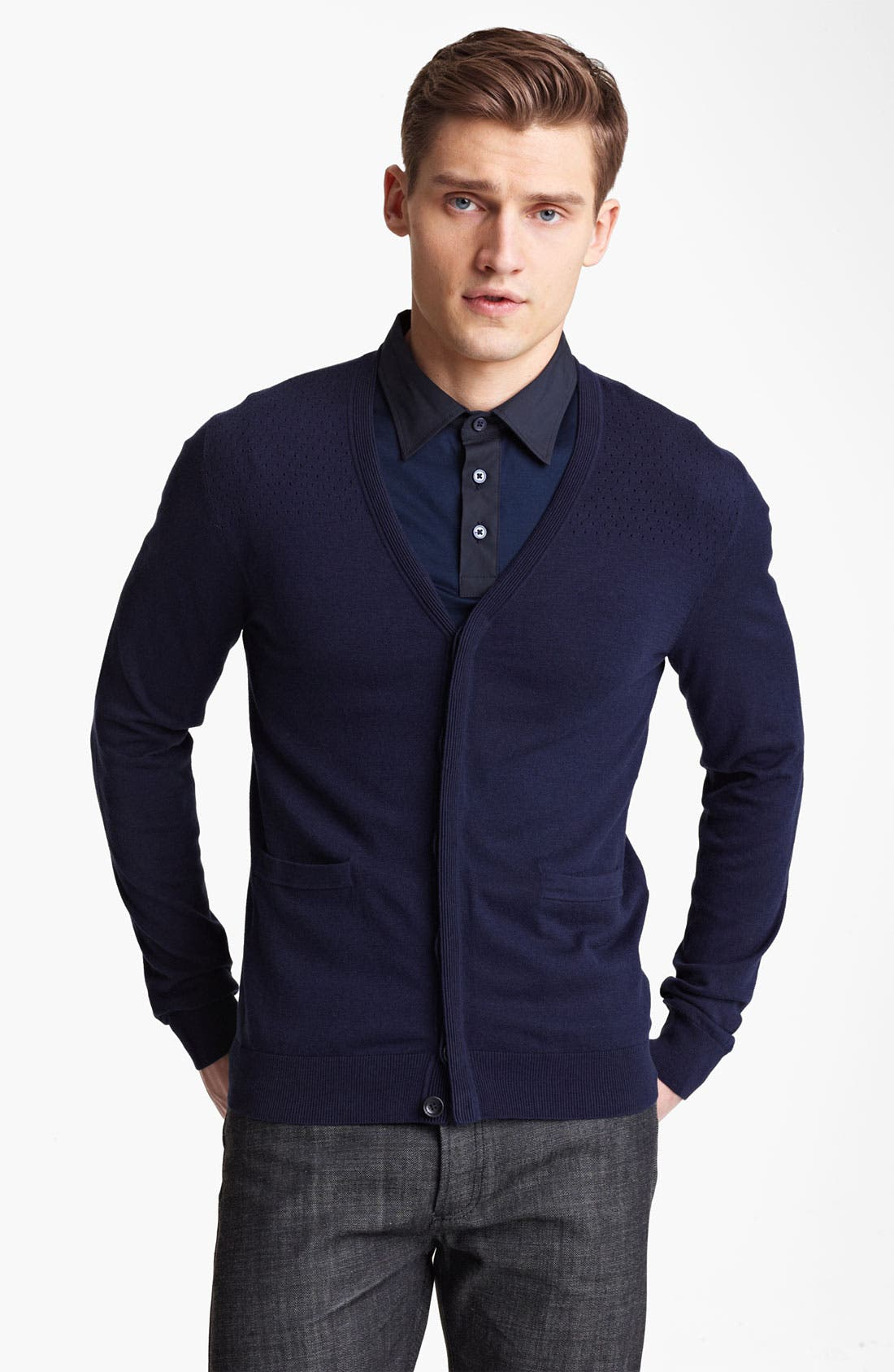 Alternate Image 1 Selected - Z Zegna Perforated Silk & Cotton Cardigan