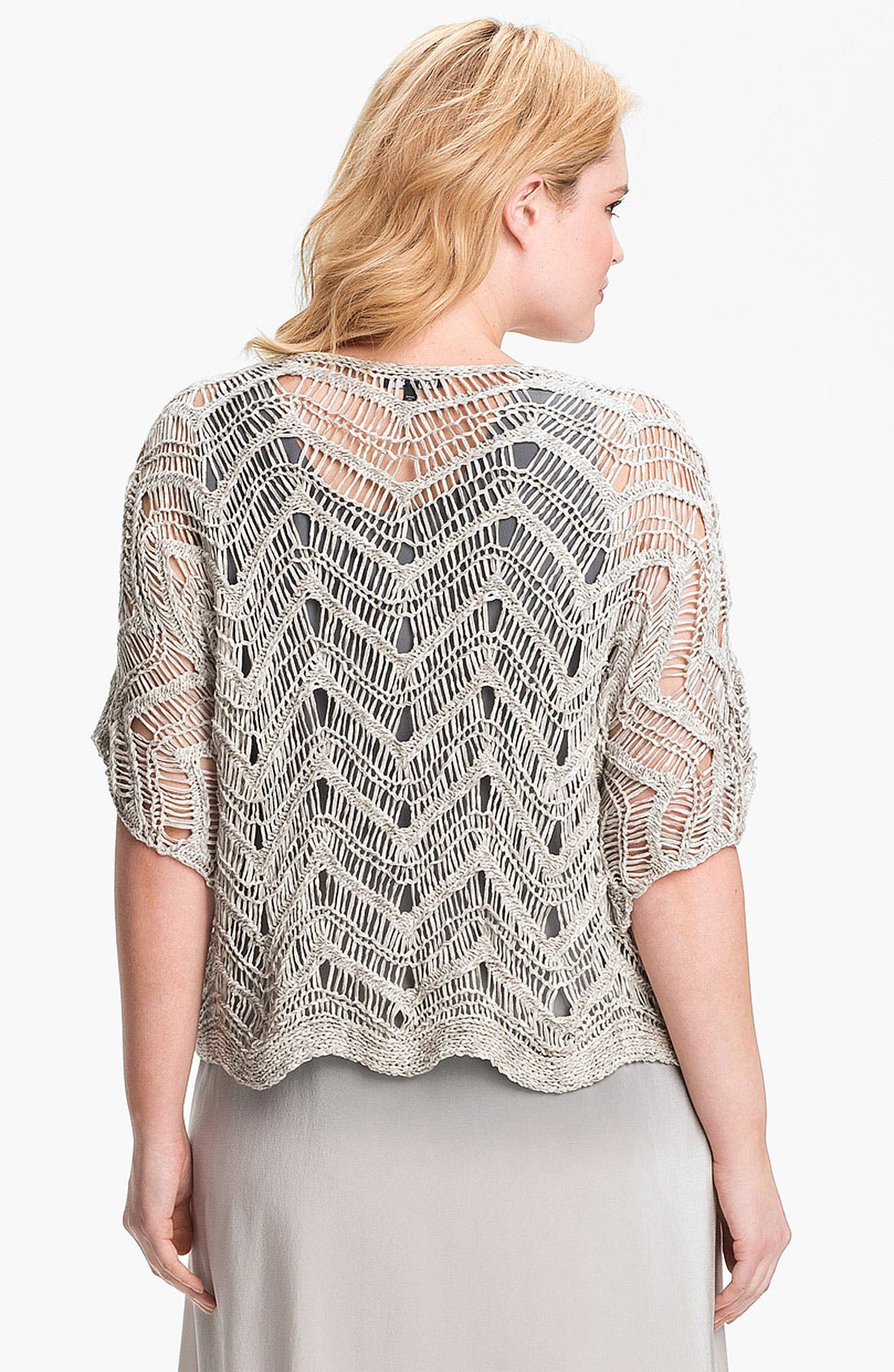 Alternate Image 2  - Eileen Fisher Open Stitch Pullover Sweater (Plus Size)