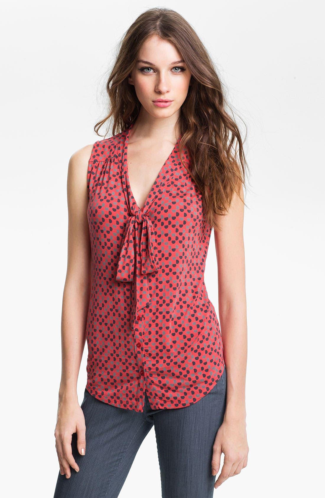 Main Image - Halogen Tie Neck Sleeveless Knit Top (Petite)