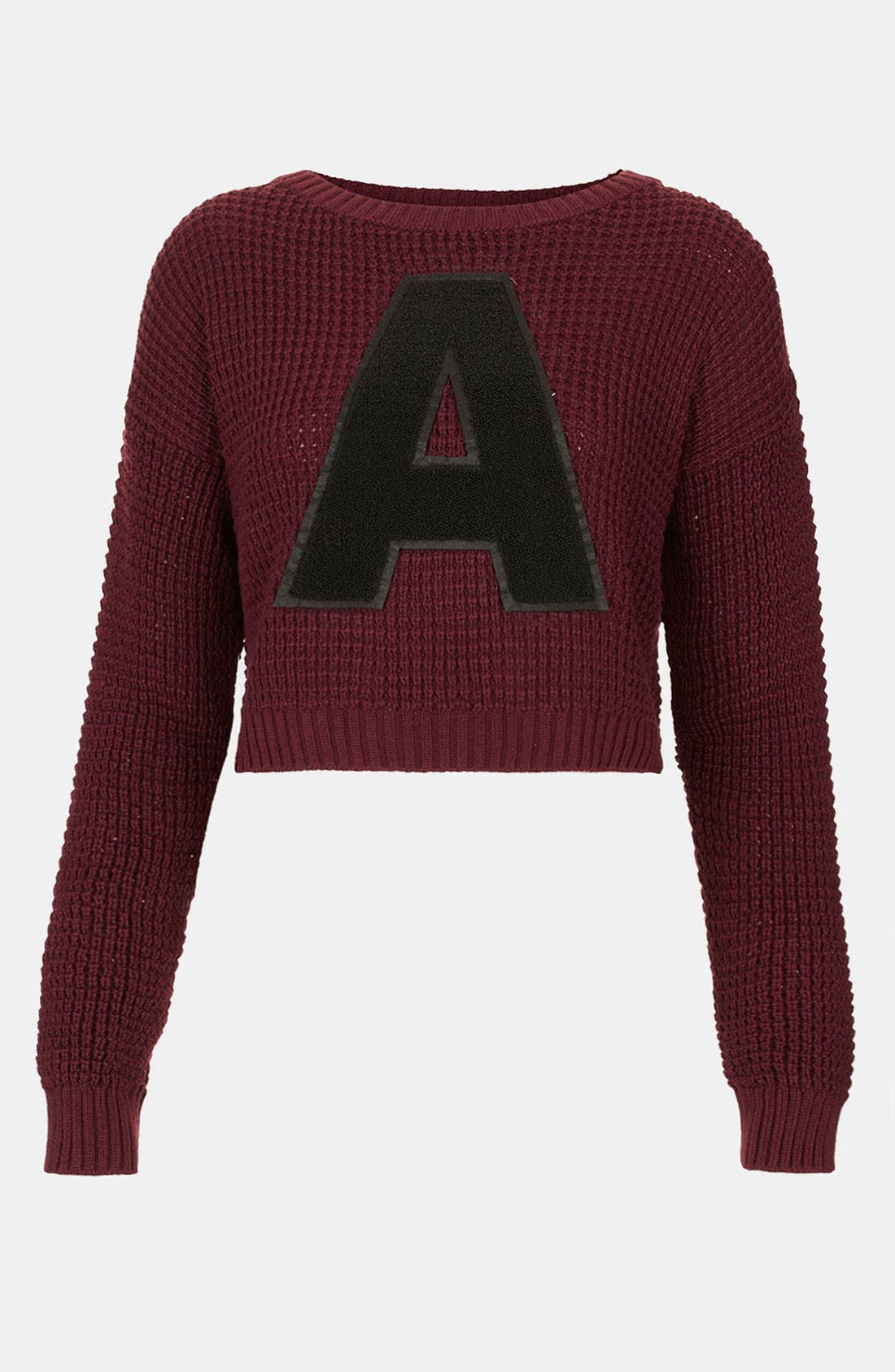 Main Image - Topshop 'A' Crop Letter Sweater