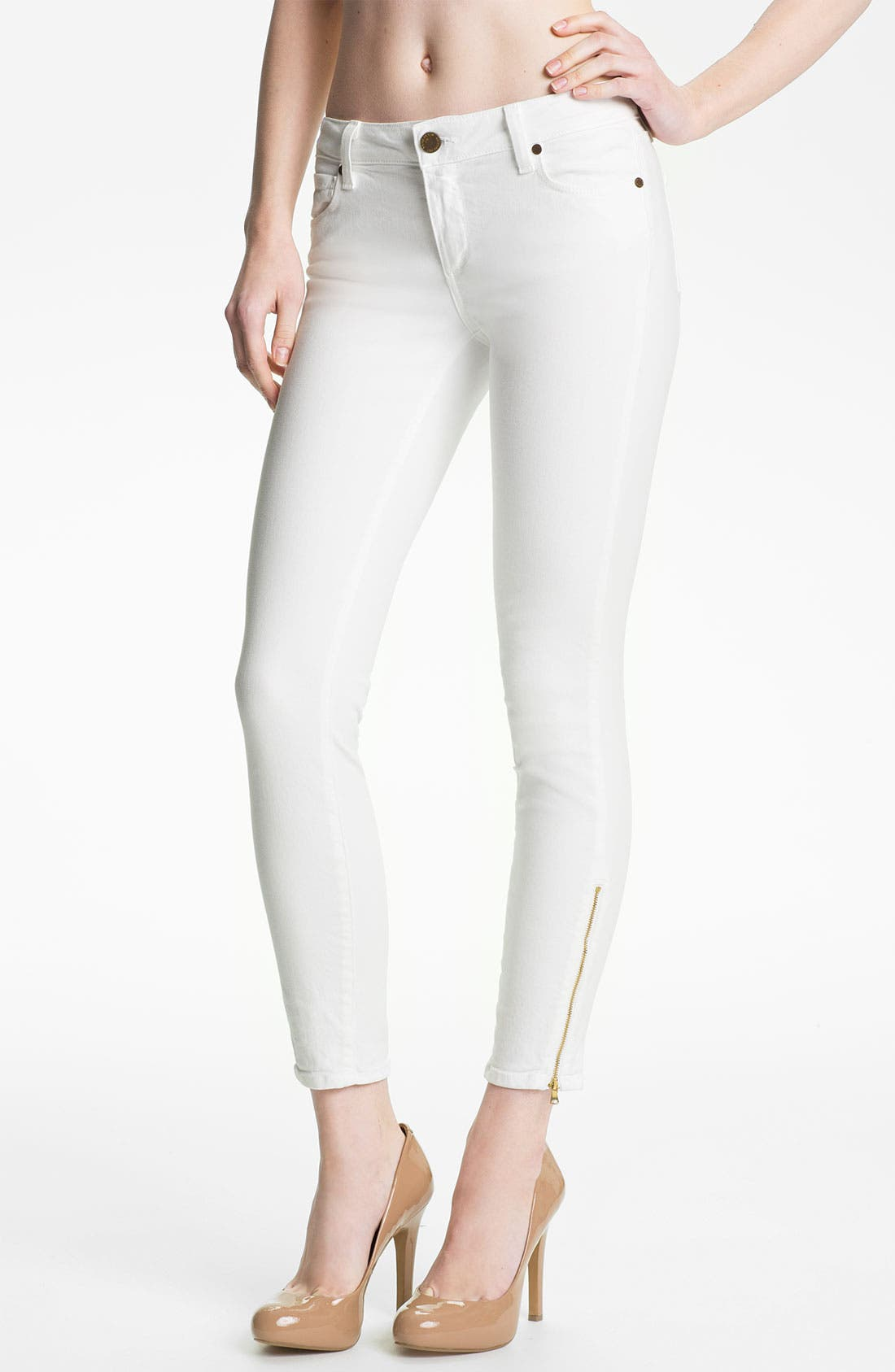 Alternate Image 1 Selected - Paige Denim 'Verdugo' Ankle Zip Skinny Stretch Jeans (White)