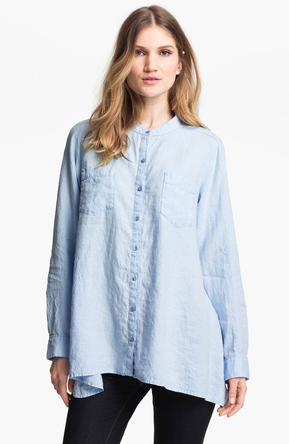 Alternate Image 1 Selected - Eileen Fisher Mandarin Collar Organic Linen Shirt