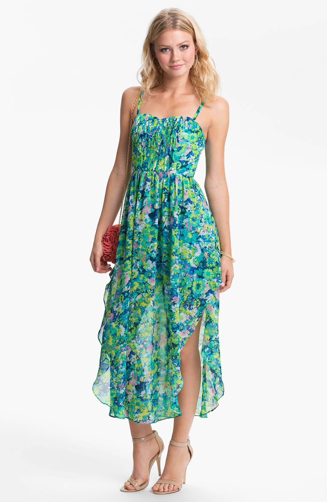 Main Image - En Crème Pleated Bustier Floral Chiffon Dress (Juniors)