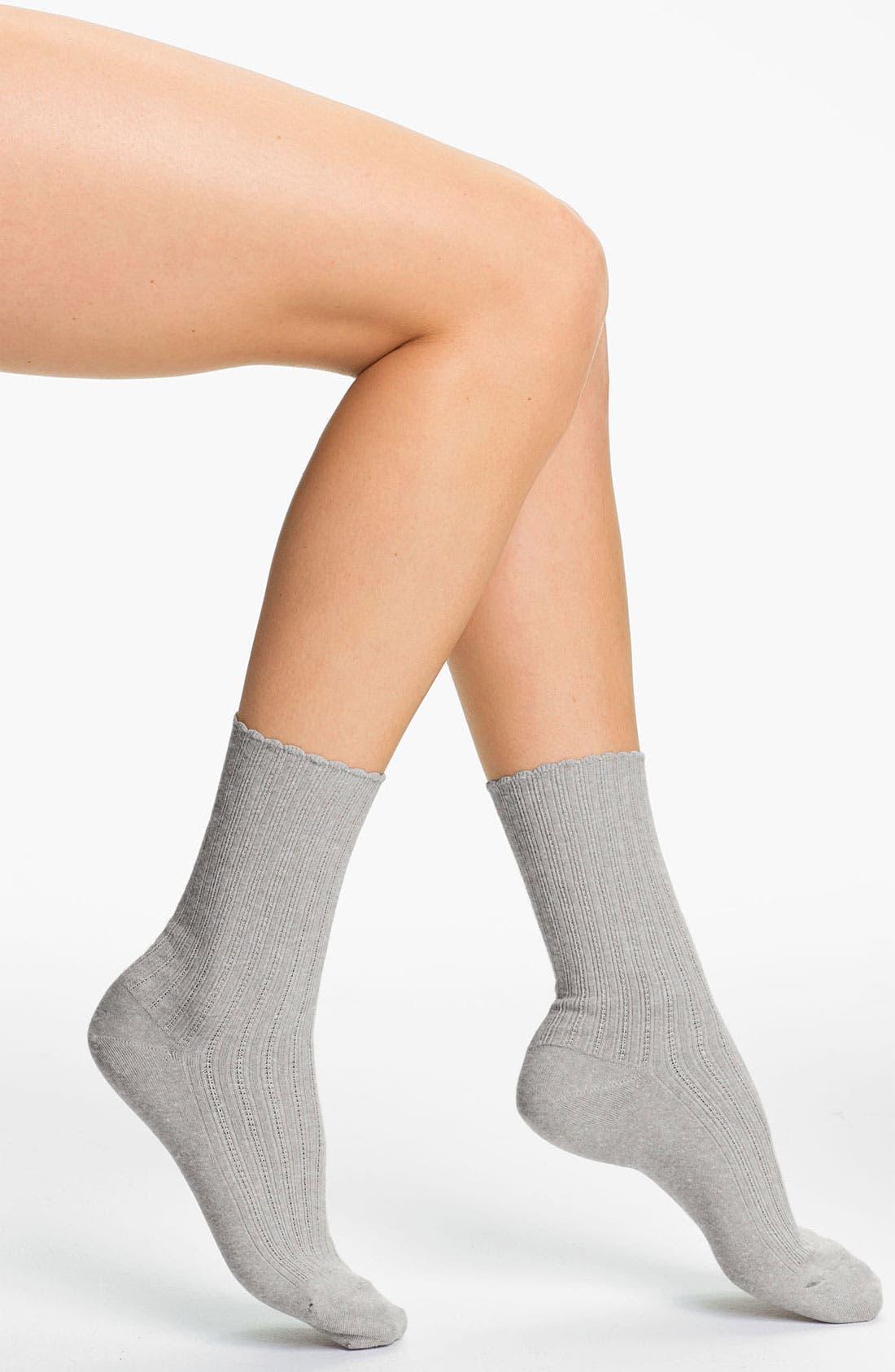 Alternate Image 1 Selected - Hue Scalloped Pointelle Socks