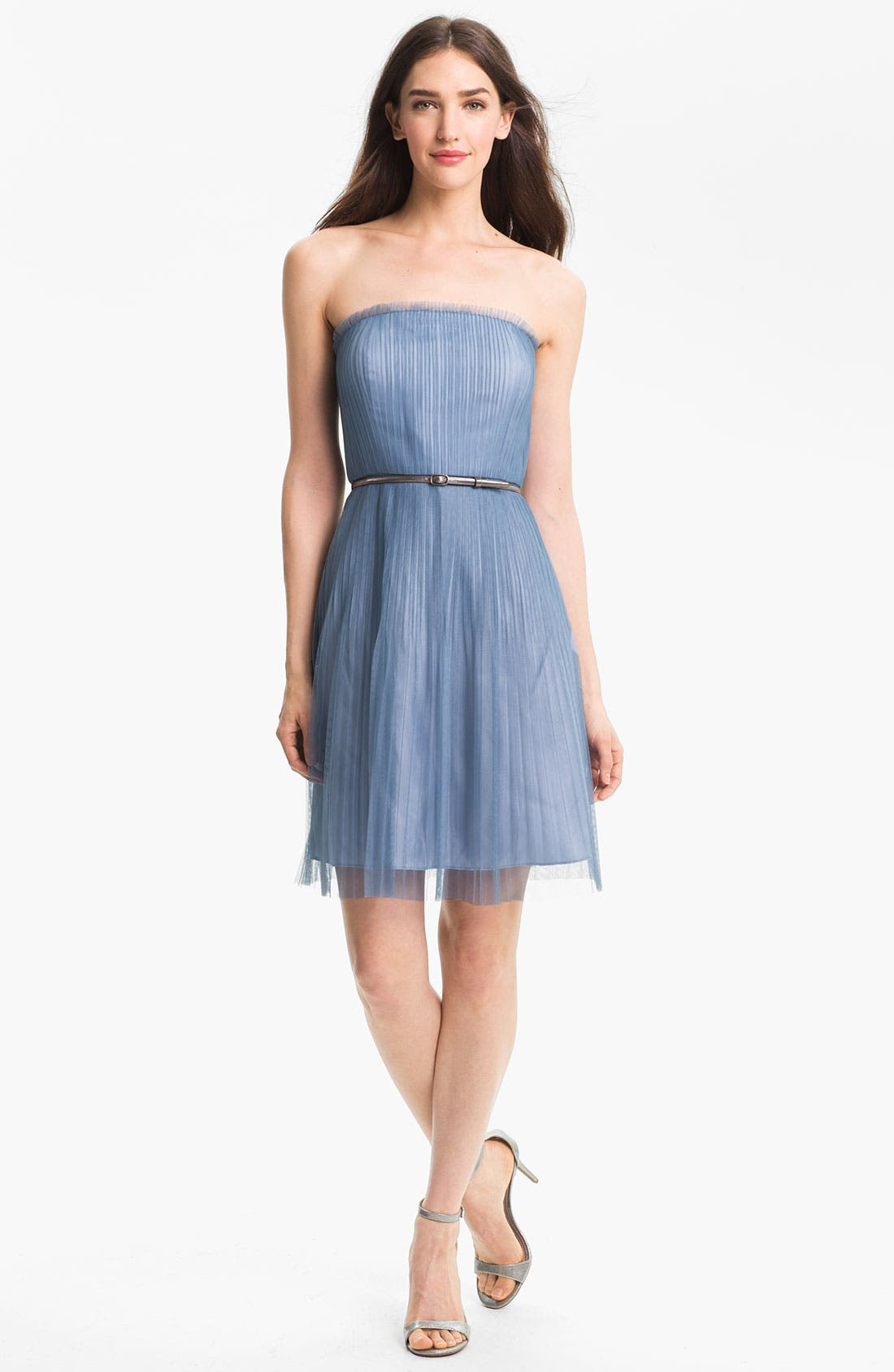 Main Image - Donna Morgan Strapless Textured Tulle Dress