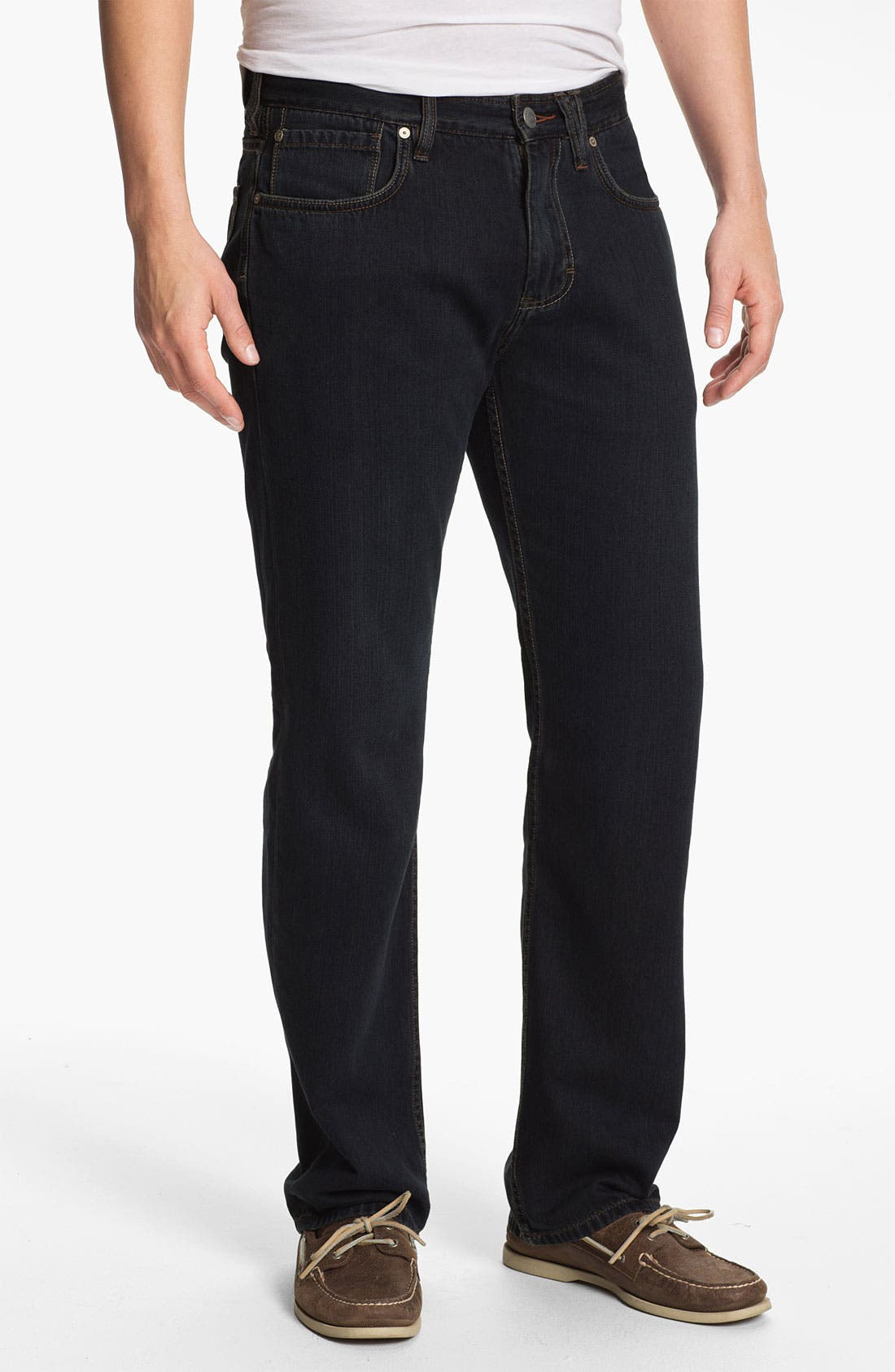 Main Image - Tommy Bahama Denim 'Coastal Island Ease' Straight Leg Jeans (Black Overdye)