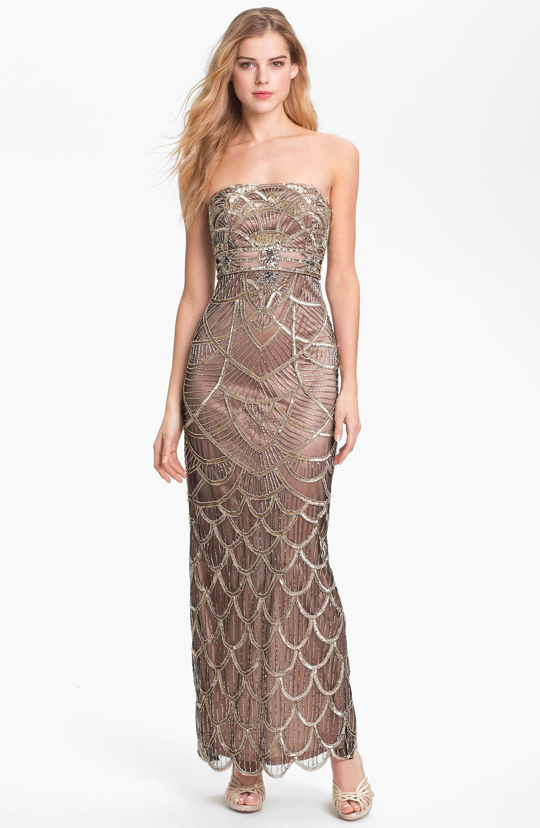 Main Image - Sue Wong Embellished Strapless Mesh Gown