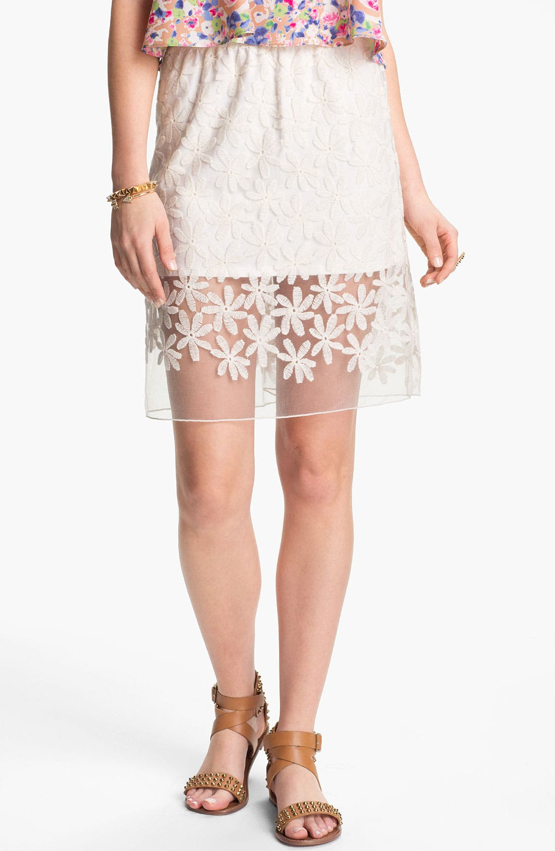 Main Image - Lily White Embroidered Half-Sheer Skirt (Juniors)