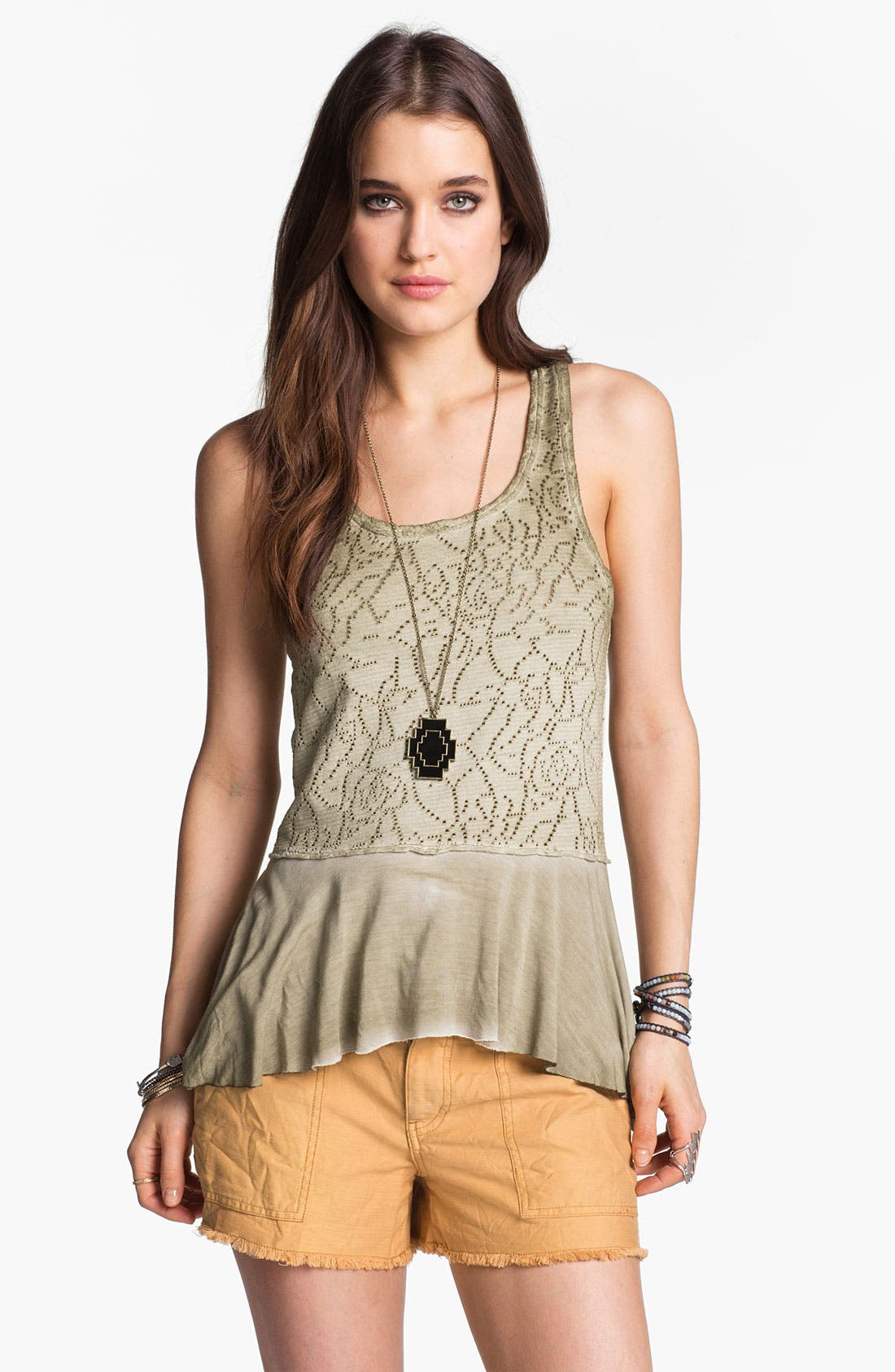 Alternate Image 1 Selected - Free People 'Rally' Perforated Peplum Tank