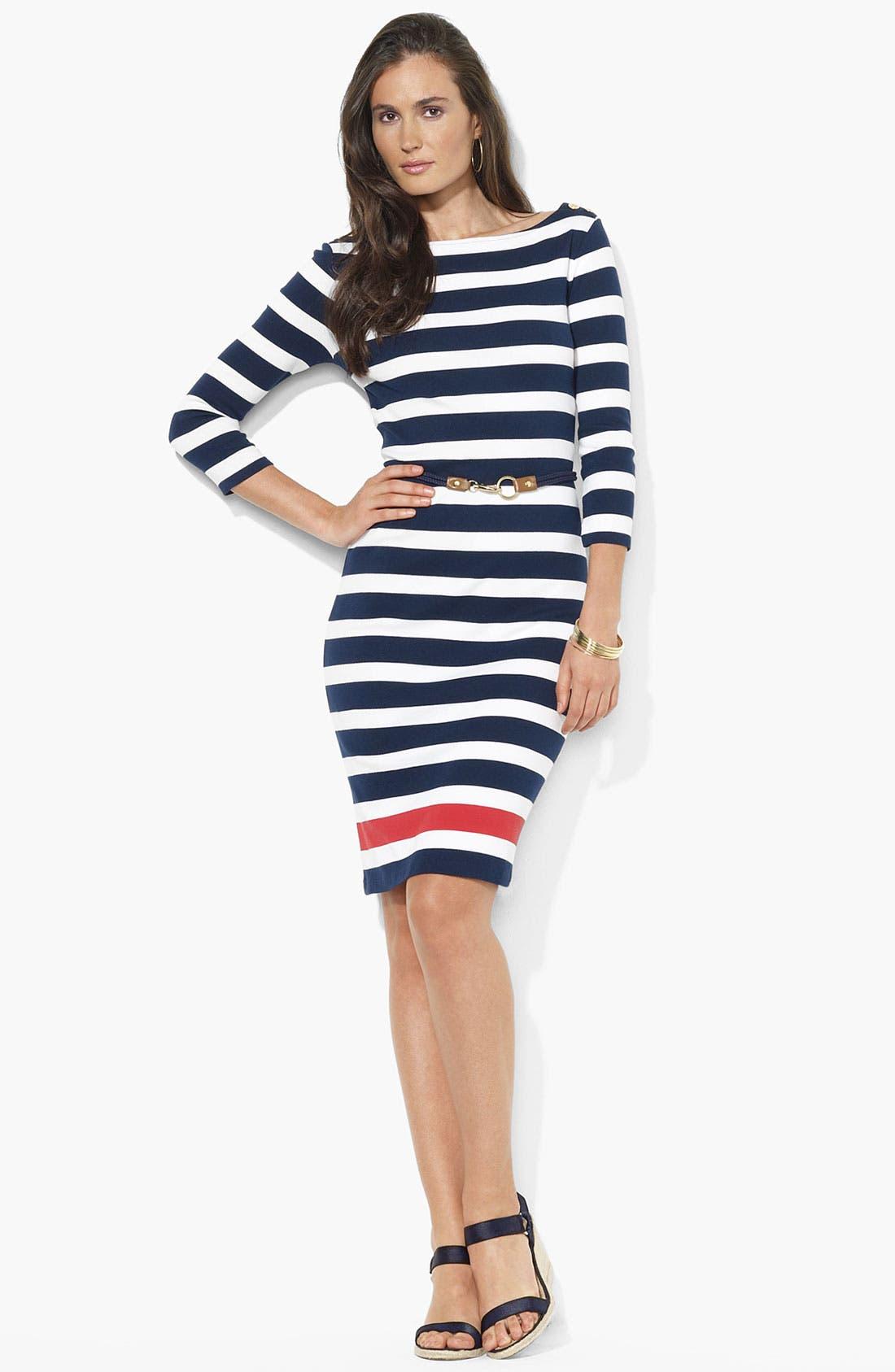 Button Shoulder Stripe Dress,                         Main,                         color, Capri Navy/ White/ Cherry Red
