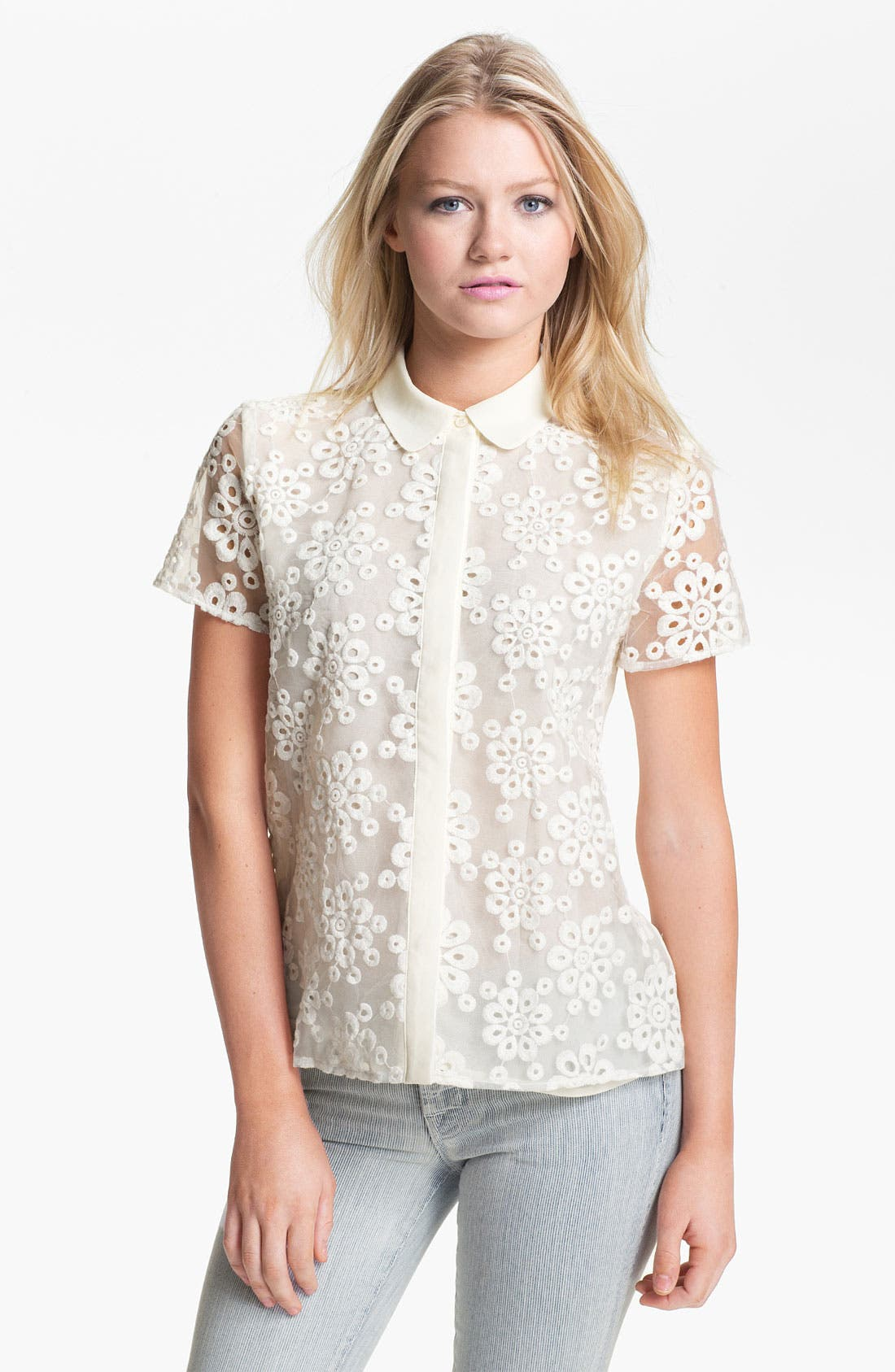 Alternate Image 1 Selected - Collective Concepts Eyelet Shirt