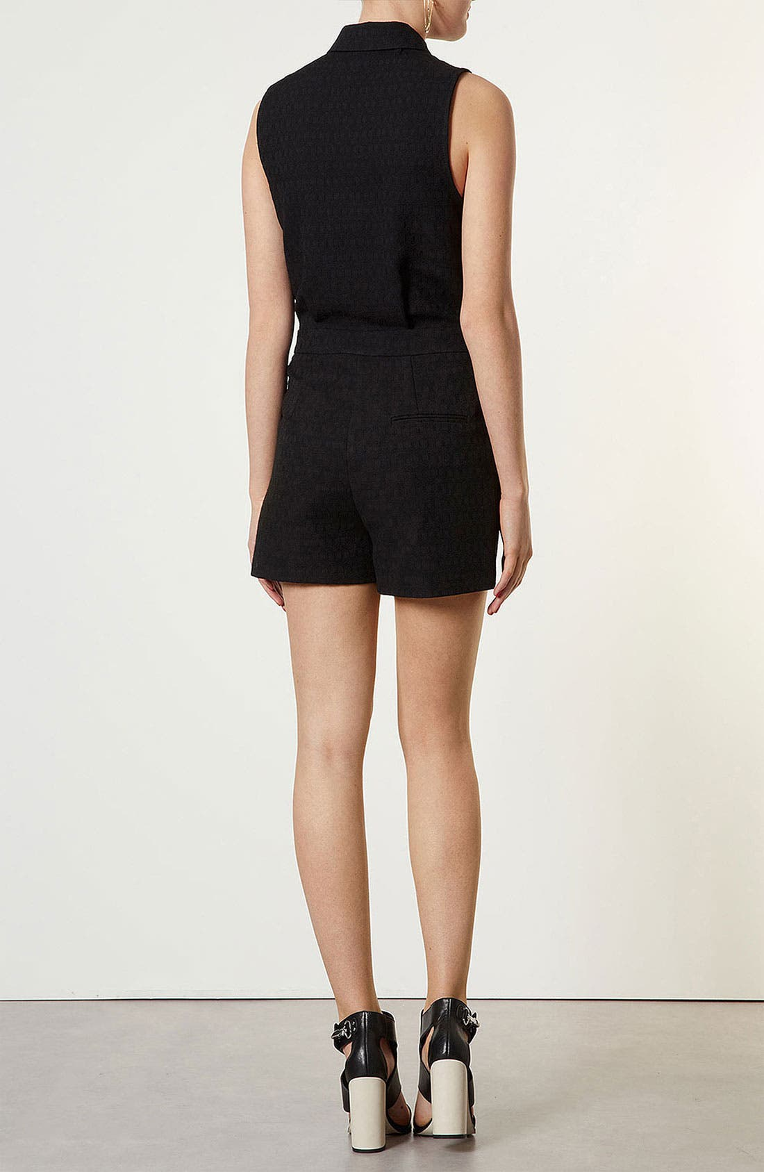 Alternate Image 3  - Topshop Sheer Panel Jacquard Romper