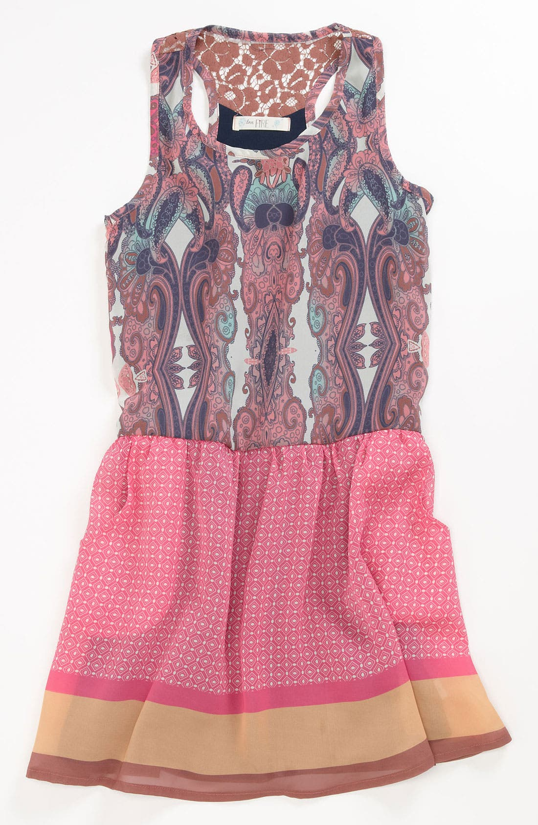 Alternate Image 1 Selected - Fire Paisley Dress (Big Girls)