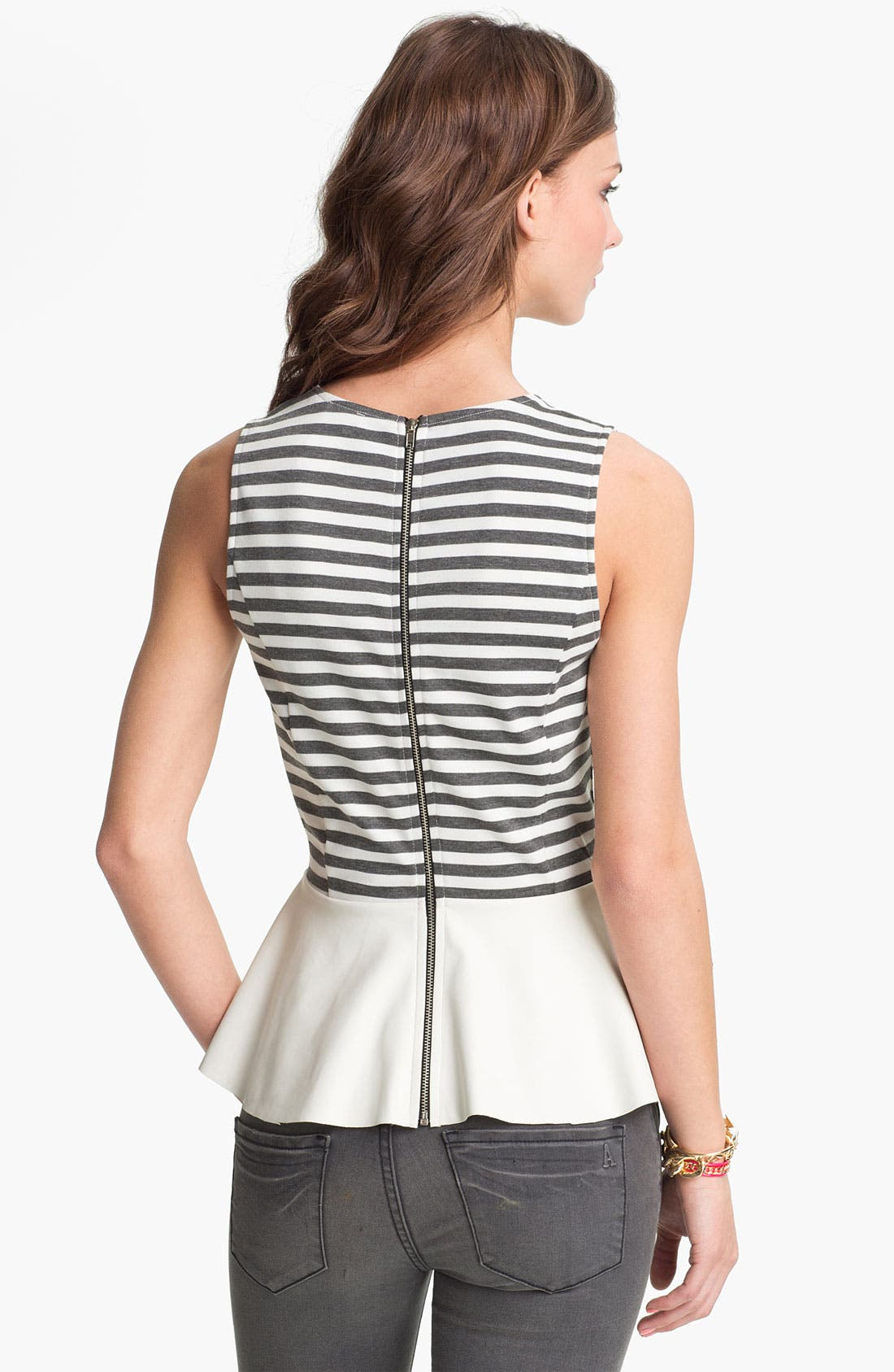 Alternate Image 2  - Lily White Faux Leather Peplum Tank (Juniors)