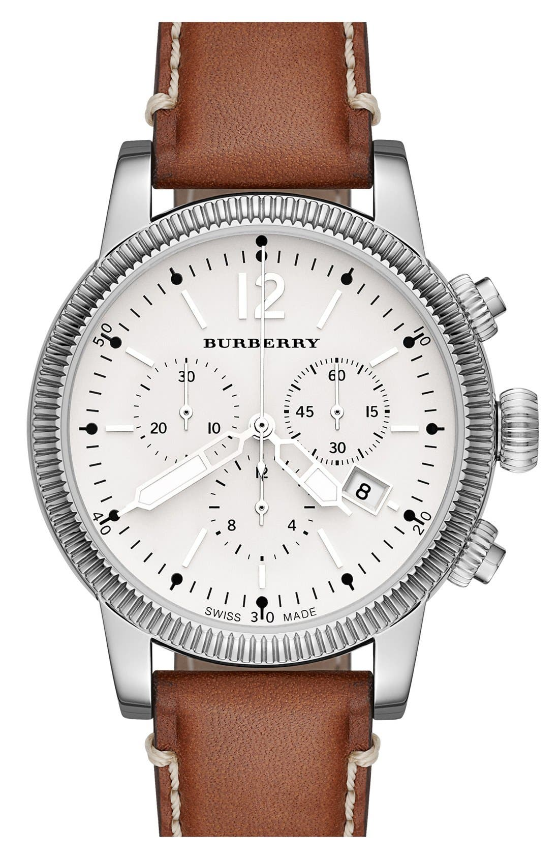 Alternate Image 1 Selected - Burberry Round Leather Strap Watch, 42mm